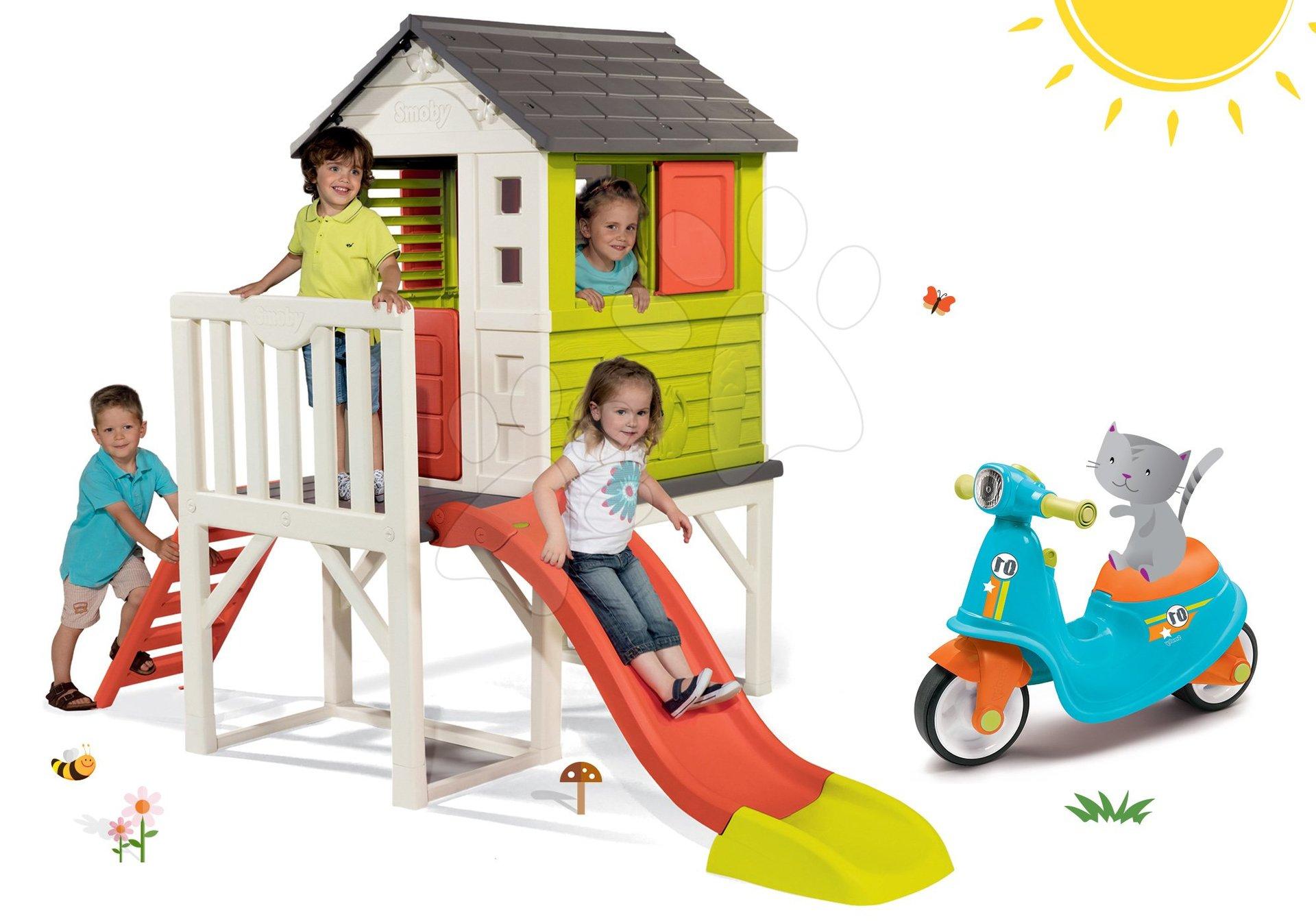 Smoby set dětský domeček na pilířích Pilings House s 1,5 m skluzavkou a odrážedlo s reflektorem 810800-10