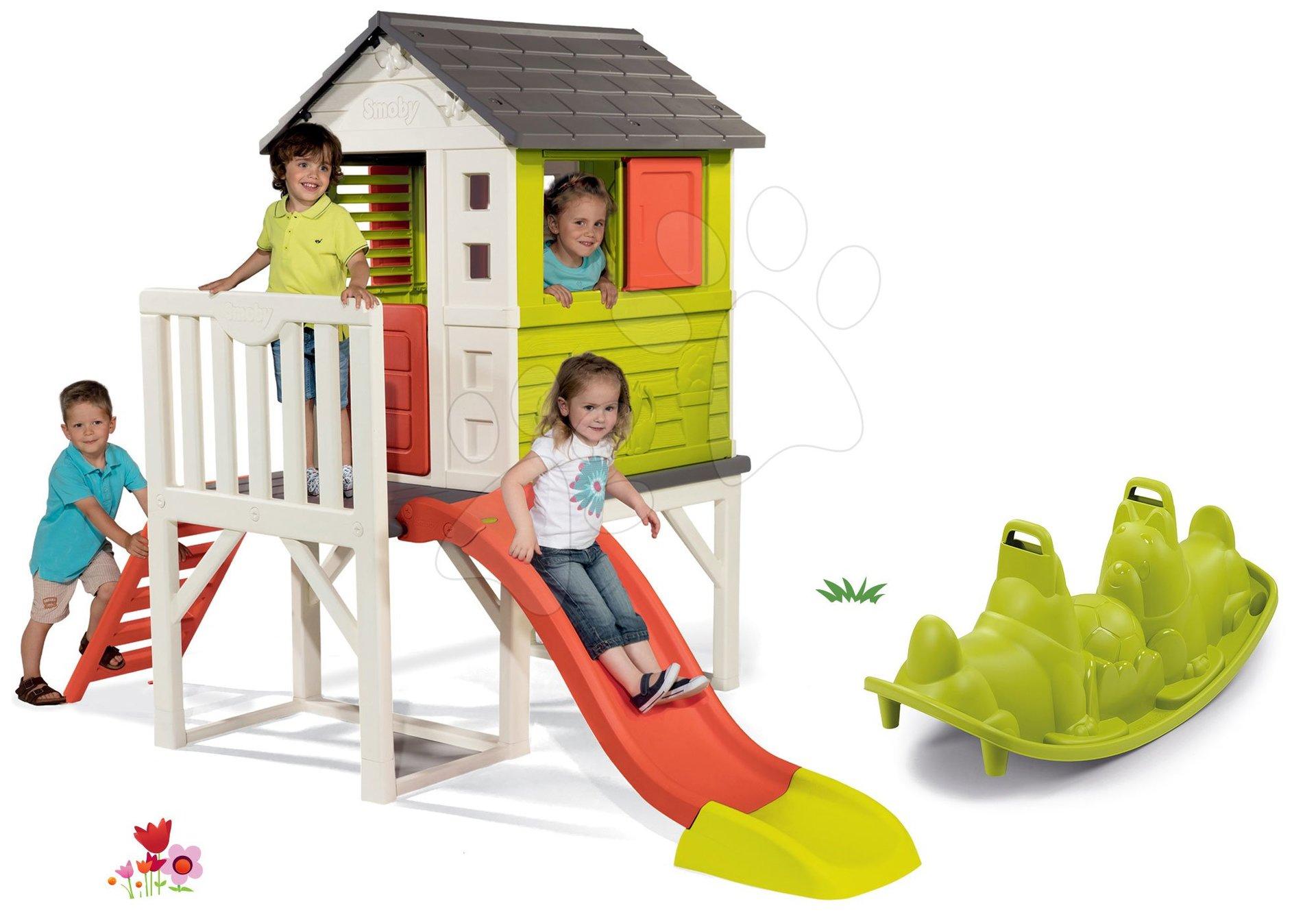 Set căsuţă pe piloni Pilings House Smoby cu tobogan de 1,5 m și balansoar cu două părți Câțel de la 24 luni