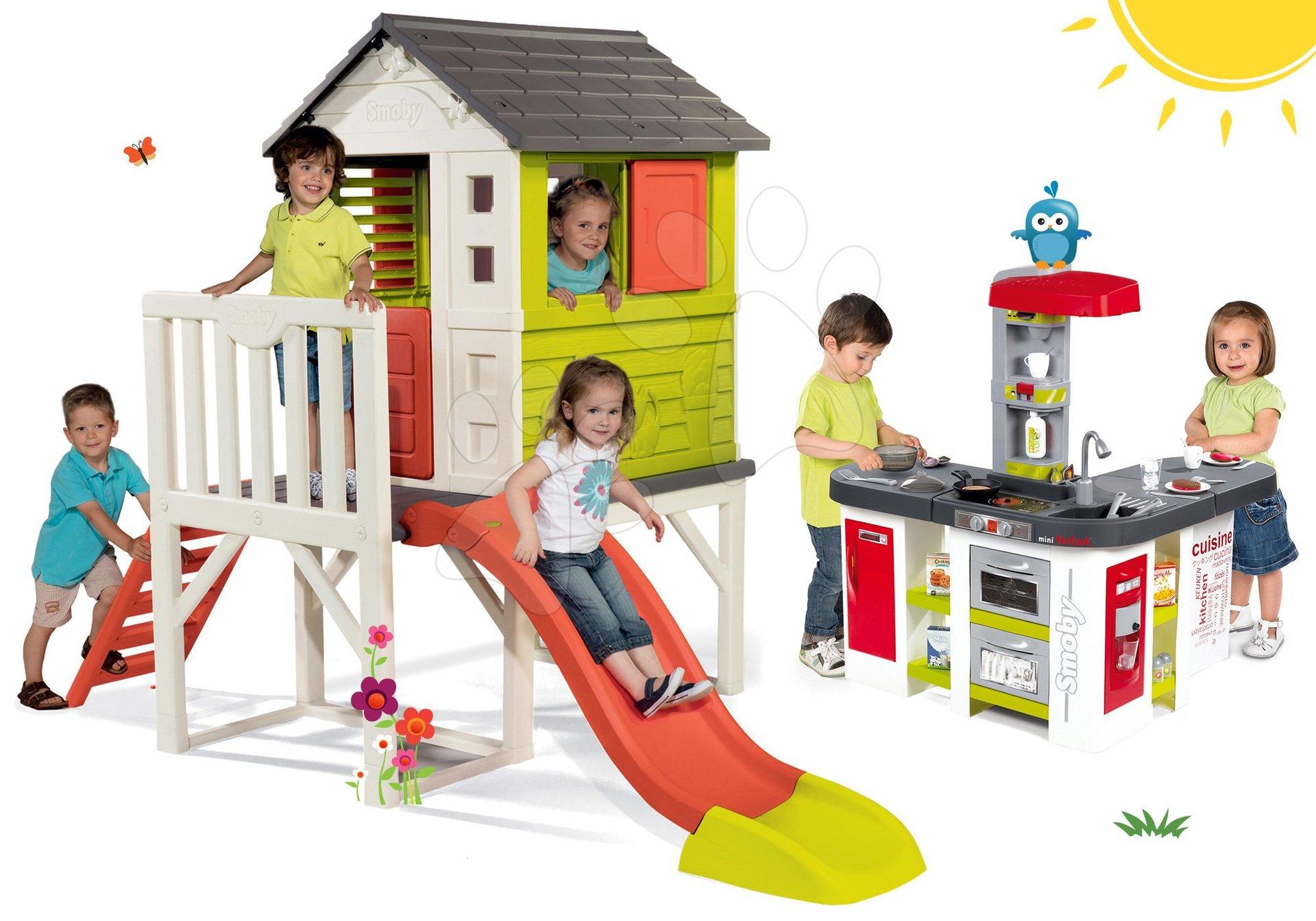 Set căsuţă pe piloni Pilings House Smoby cu tobogan de 1,5 m și bucătărie Tefal Studio XXL electronică cu barbotare şi gheaţă de la 24 luni