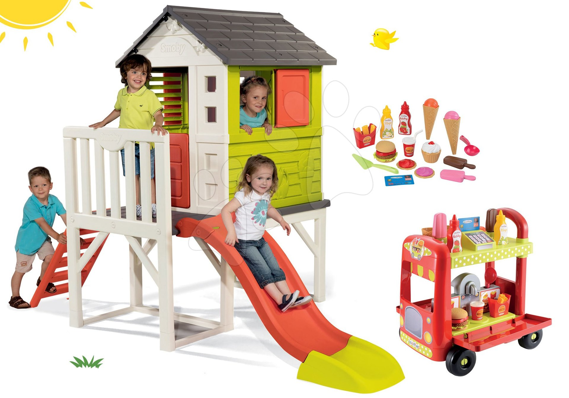 Smoby set dětský domeček na pilířích Pilings House s 1,5 m skluzavkou a zmrzlinářský vozík s hamburgery 810800-15
