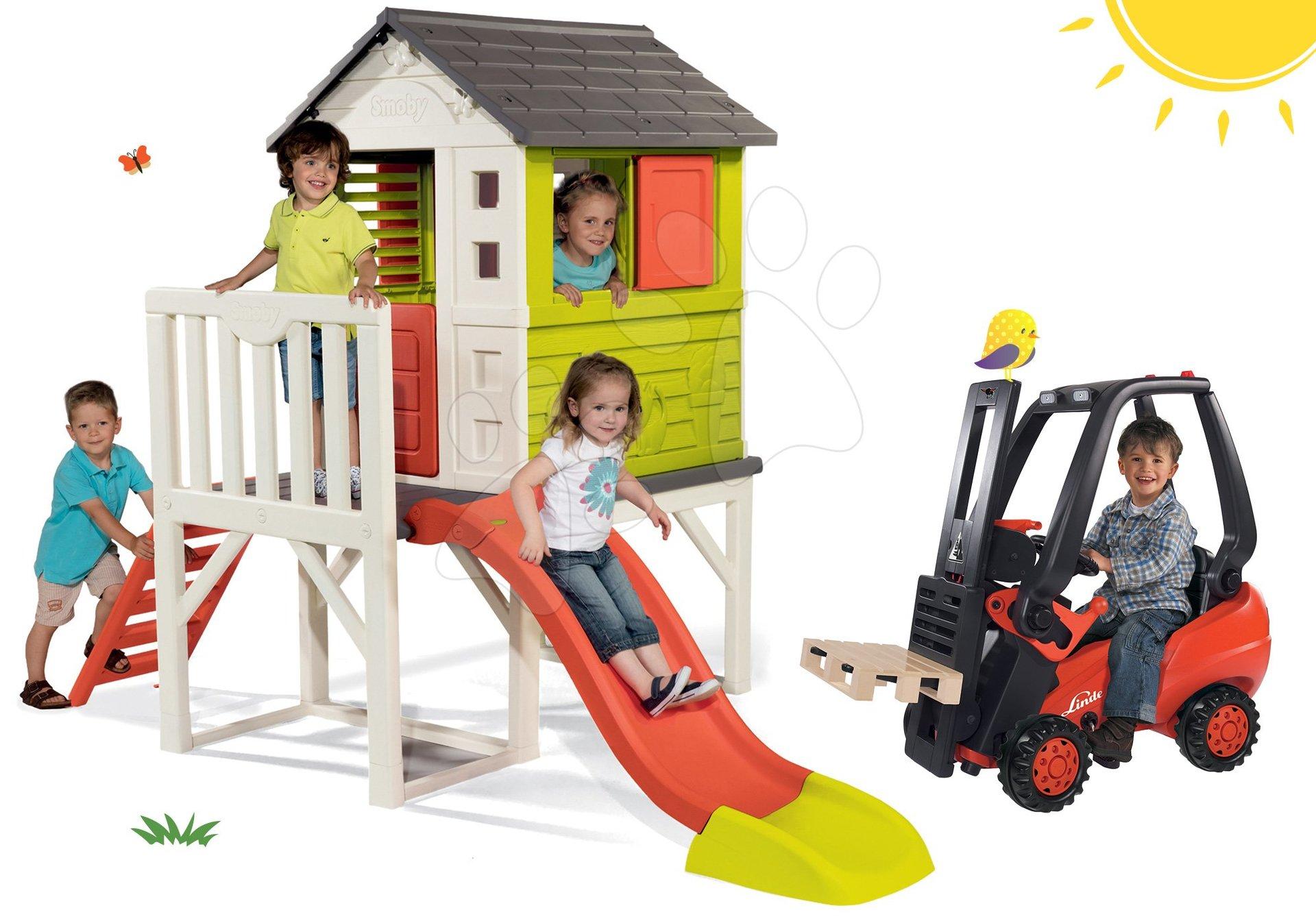 Smoby set detský domček na pilieroch Pilings House s 1,5 m šmykľavkou a vysokozdvižný vozík Linde s paletou 810800-20