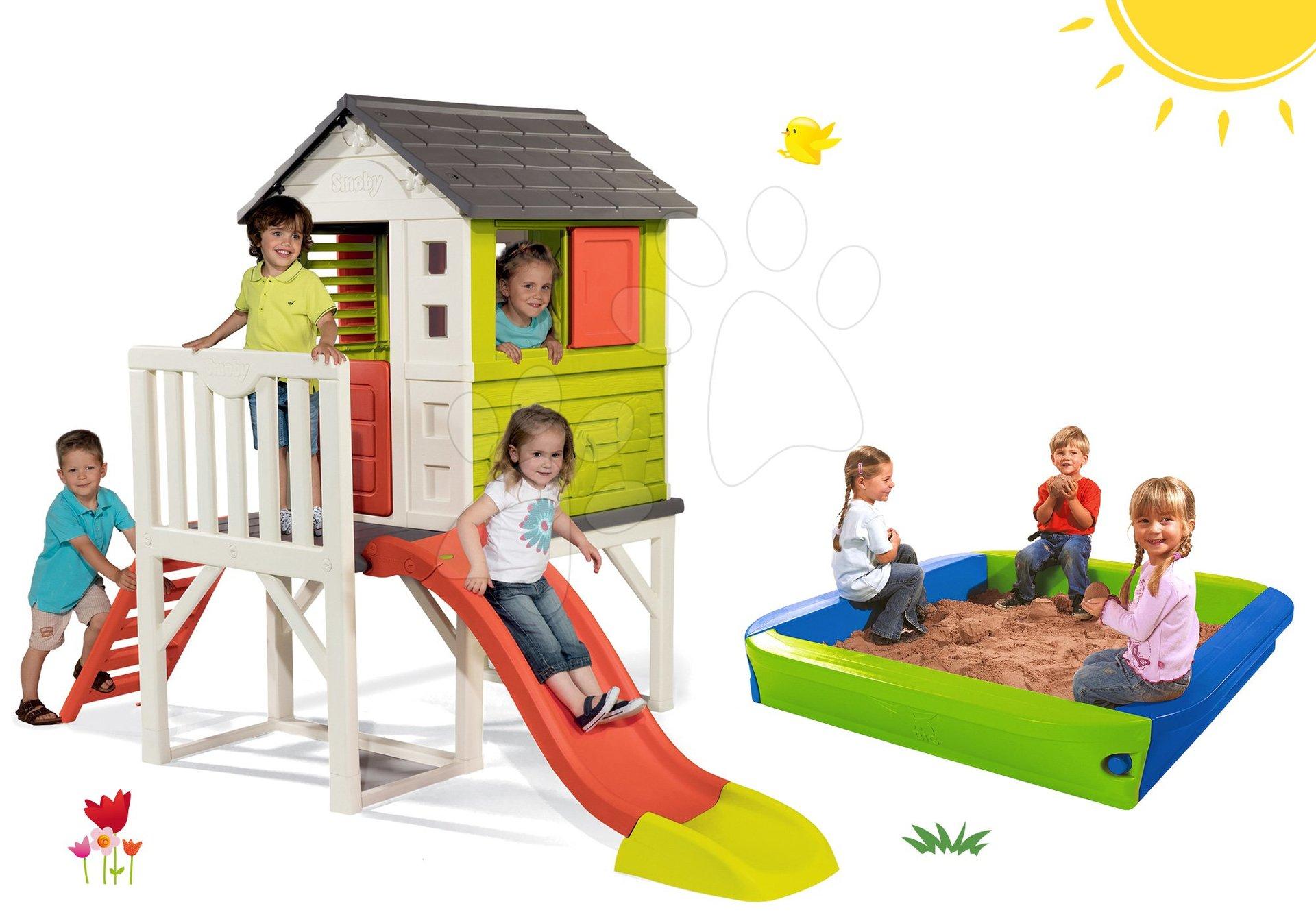 Set domček na pilieroch Pilings House Smoby s 1,5 m šmykľavkou a pieskovisko s krycou plachtou 152 cm od 24 mes