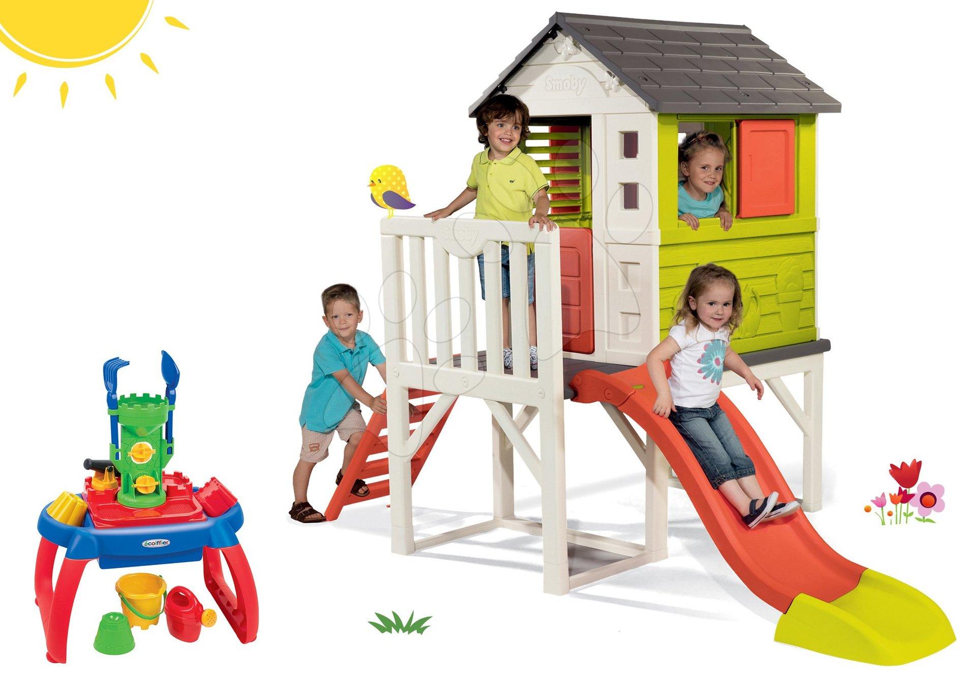 Smoby set detský domček na pilieroch Pilings House s 1,5 m šmykľavkou a pieskovisko stolík na vodu a piesok 810800-30