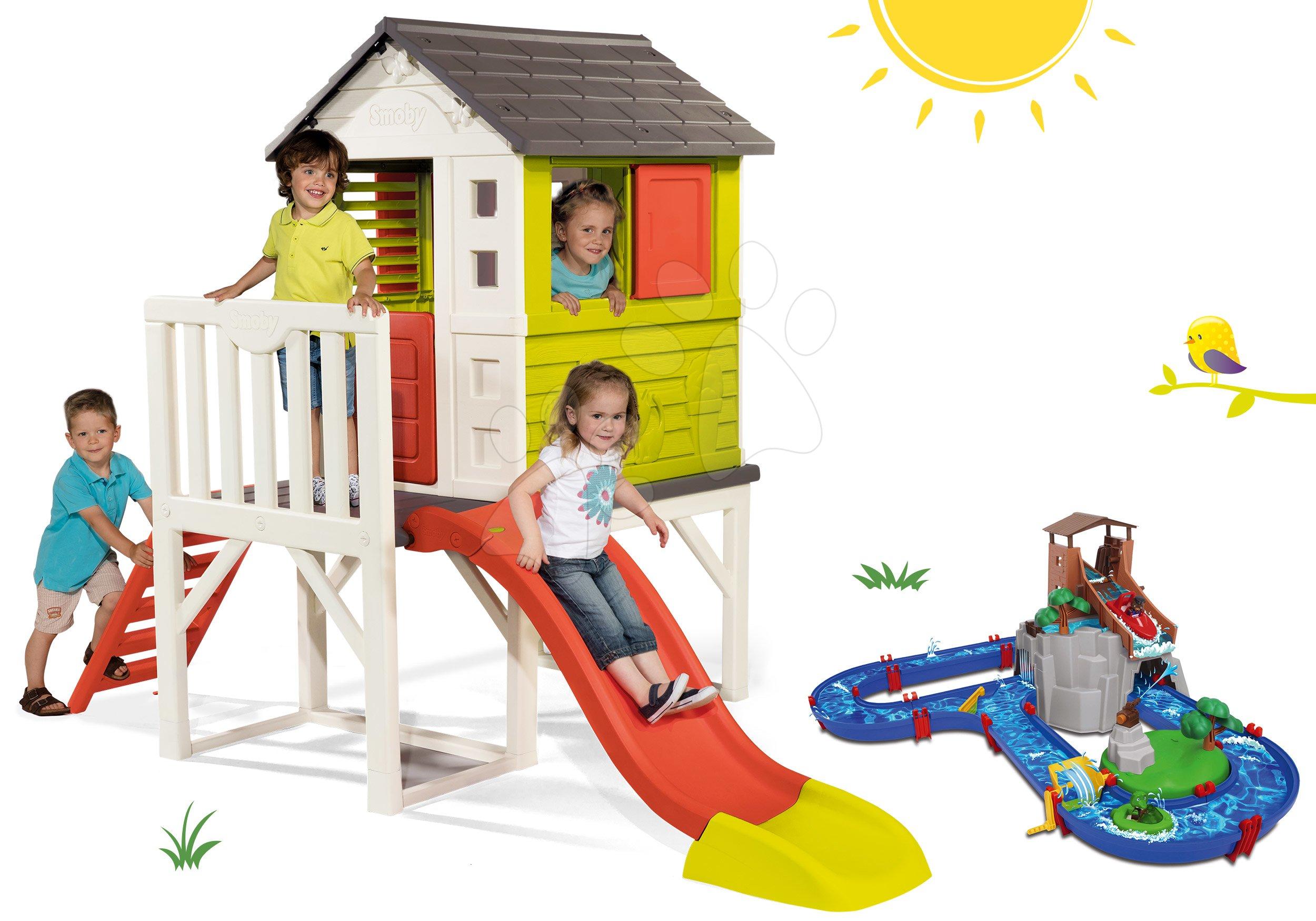 Set detský domček na pilieroch Pilings House Smoby s 1,5 m šmykľavkou a vodná dráha Adventure Land dobrodružstvo pod vodopádom