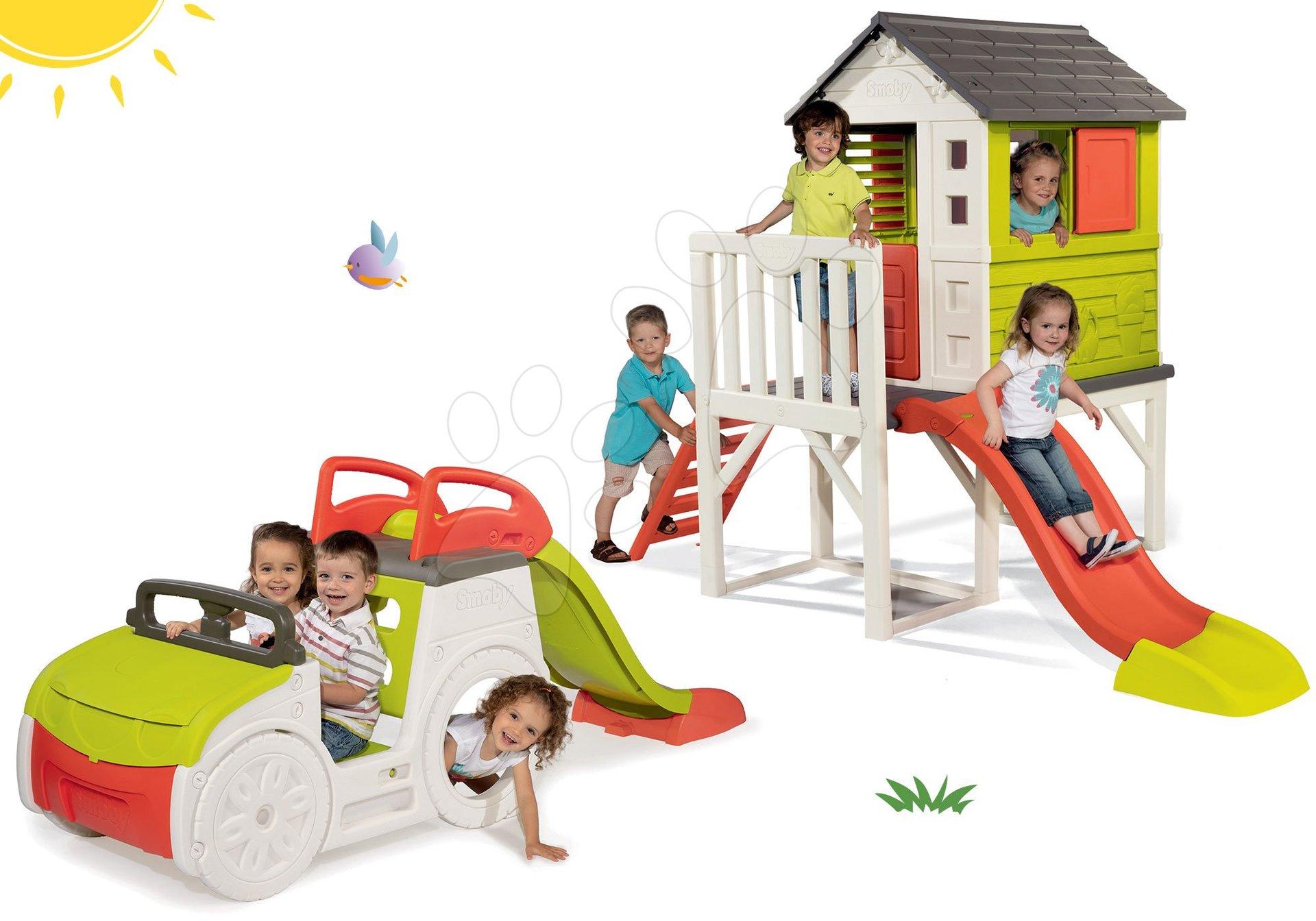 Smoby set dětský domeček na pilířích Pilings House s 1,5 m skluzavkou a prolézačka Adventure Car 810800-4