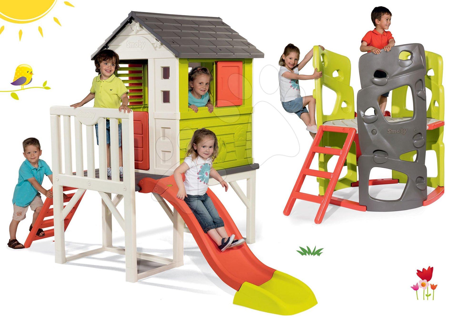 Smoby set detský domček na pilieroch Pilings House s 1,5 m šmykľavkou a preliezačka Multi-Activity Tower 810800-5
