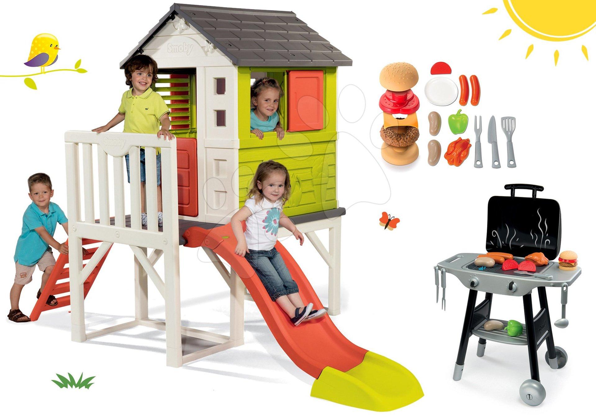 Set căsuţă pe piloni Pilings House Smoby cu tobogan de 1,5 m și bucătărie Barbecue Grill cu accesorii de la 24 luni