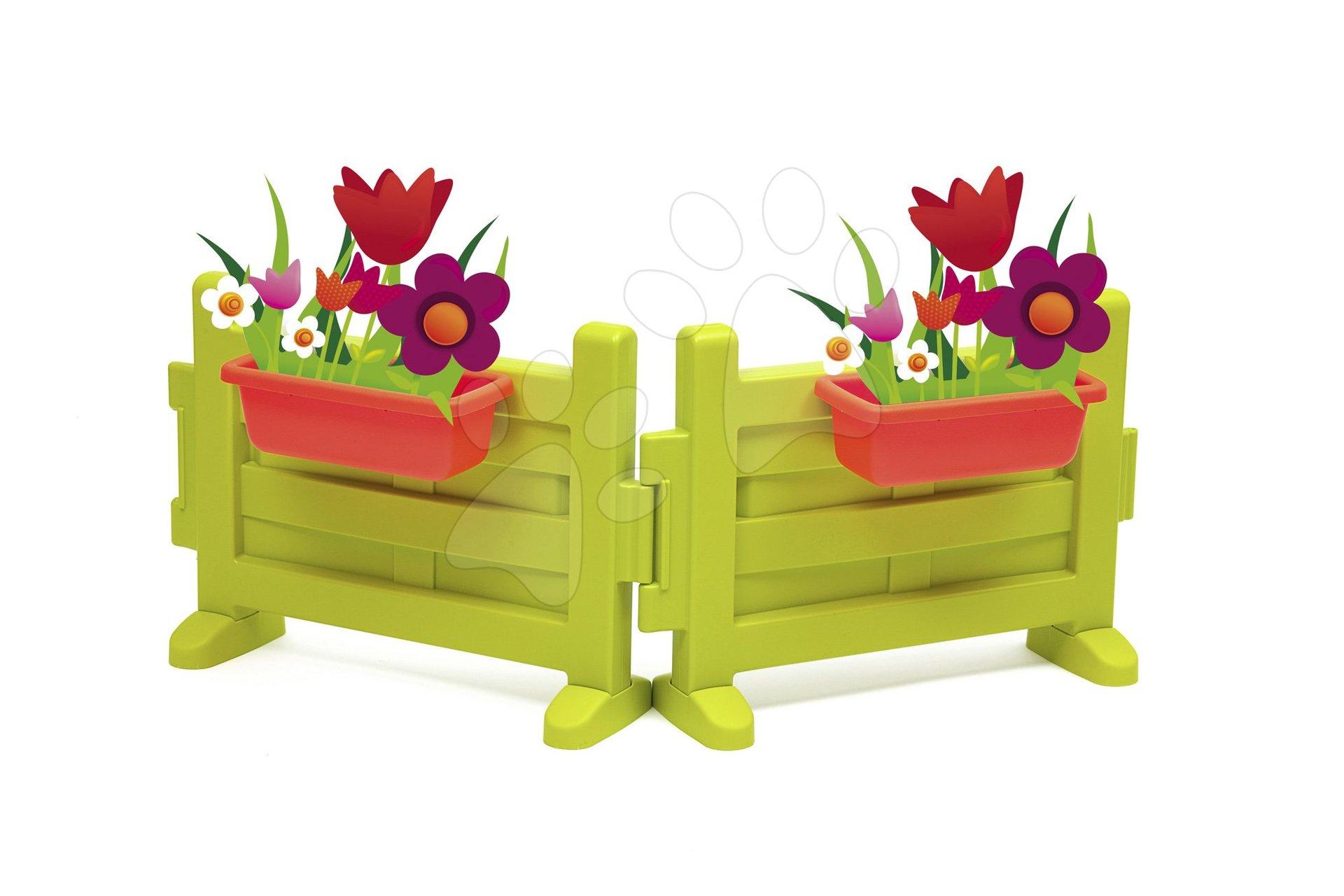 Smoby predzáhradka s dvoma kvetináčmi k domčeku Neo Jura Lodge a Friends House s UV filtrom 810904