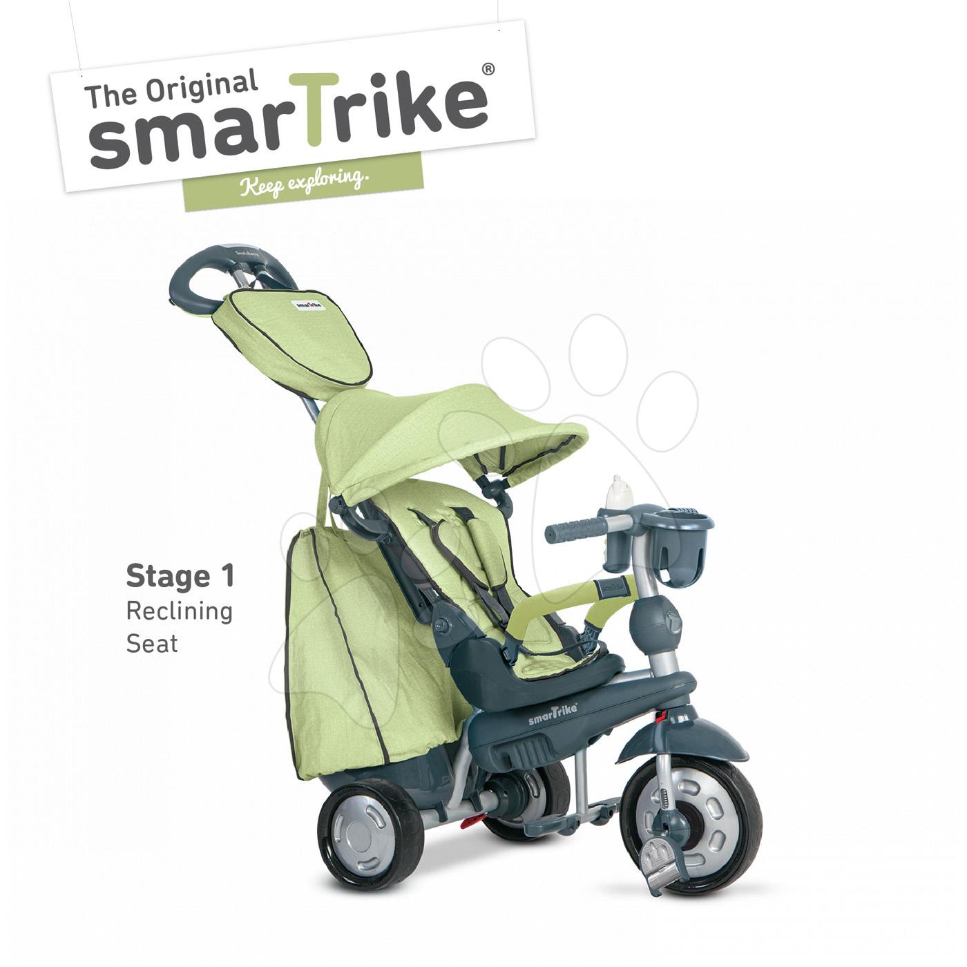 Trojkolky od 10 mesiacov - Trojkolka Explorer Green 5v1 smarTrike 360° riadenie s polohovateľným sedadlom šedo-zelená od 10 mes