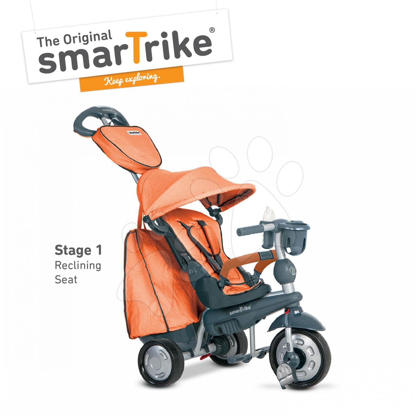 Trojkolky od 10 mesiacov - Trojkolka Explorer Orange smarTrike 360° riadenie s polohovateľnou opierkou 5v1 šedo-oranžová od 10 mes