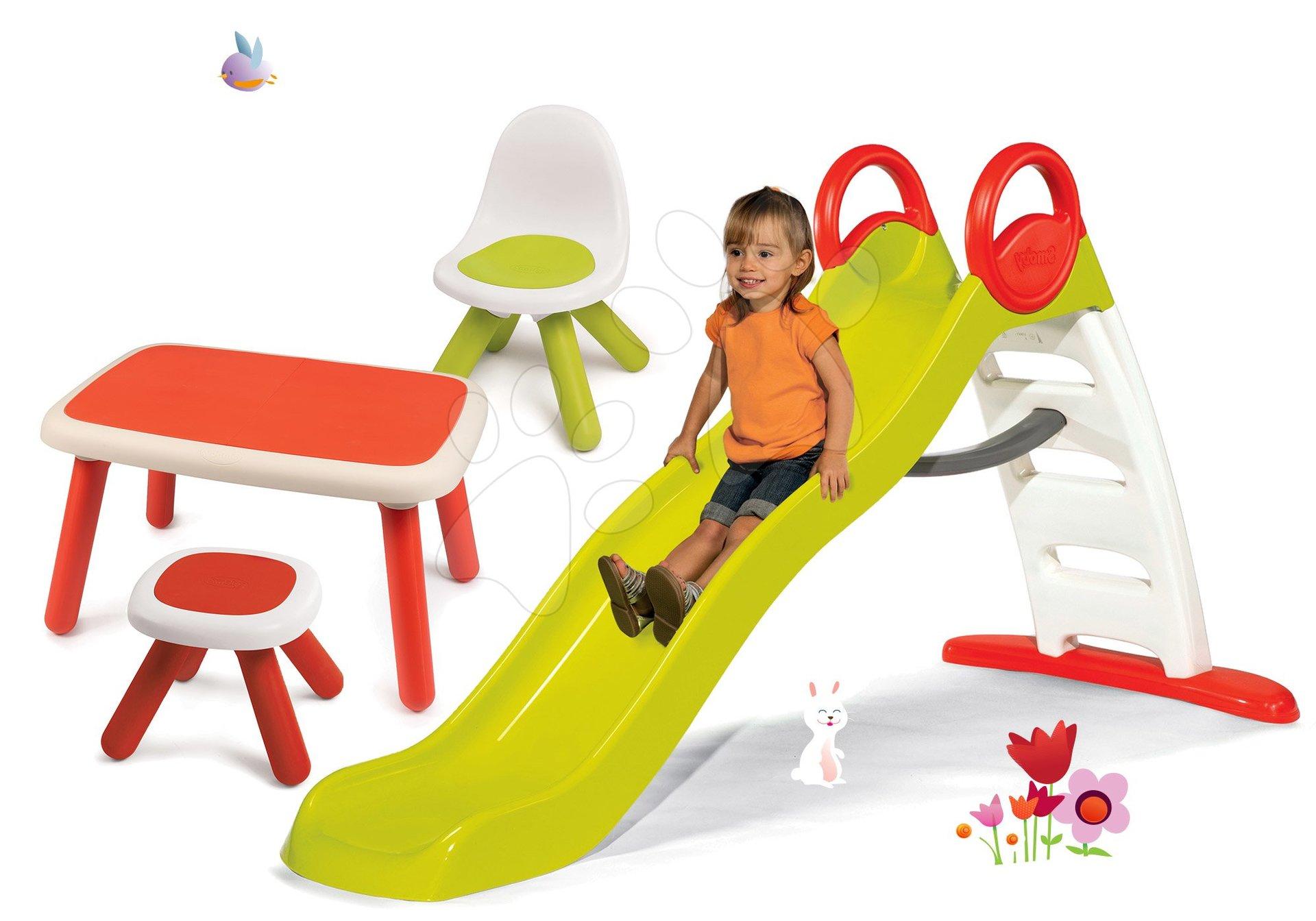 Set šmykľavka Toboggan Funny dĺžka 200 cm Smoby a stôl so stoličkou a stolčekom KidChair