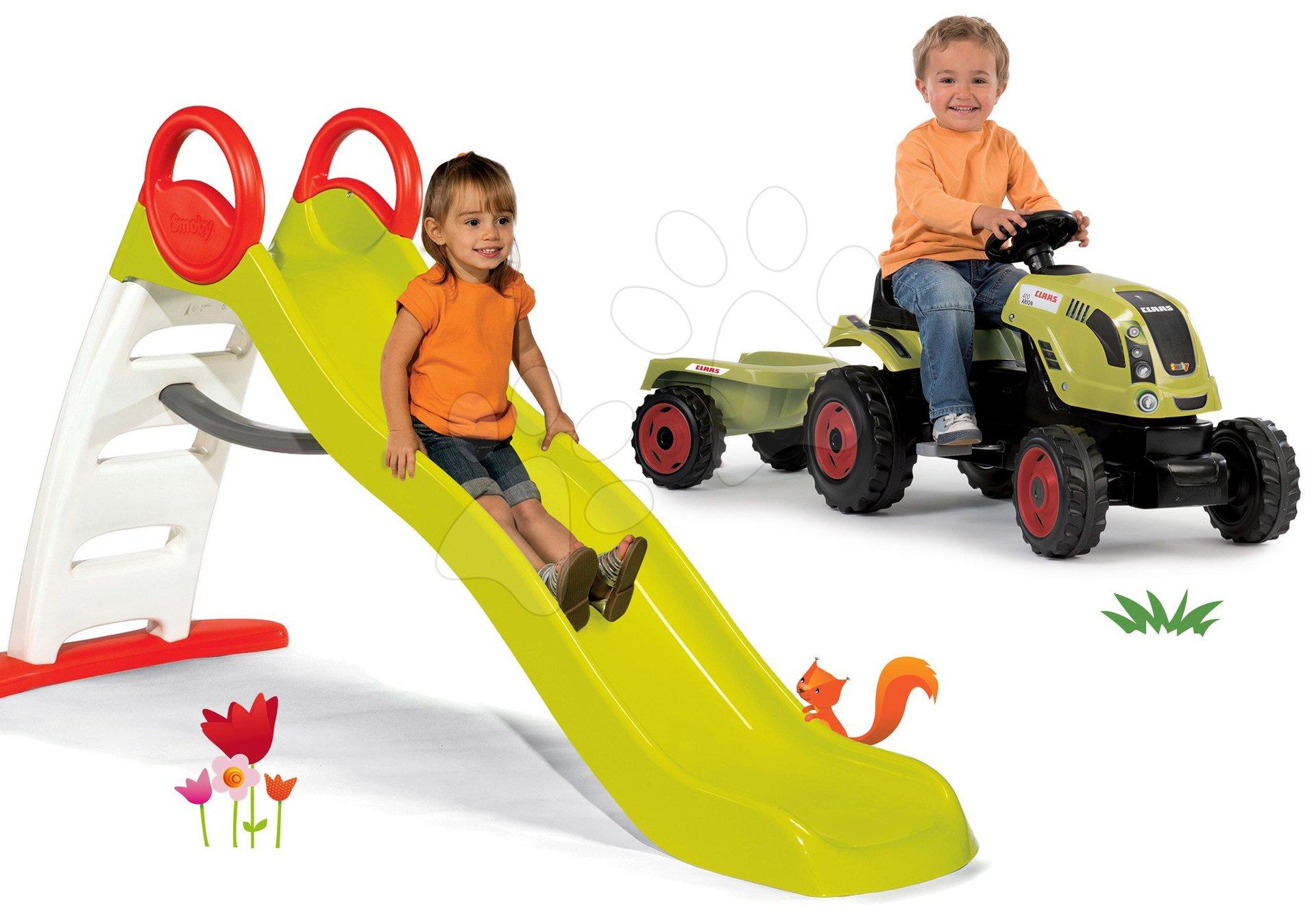 Set šmykľavka Toboggan Funny dĺžka 200 cm Smoby a traktor na šliapanie Claas Farmer XL s prívesom
