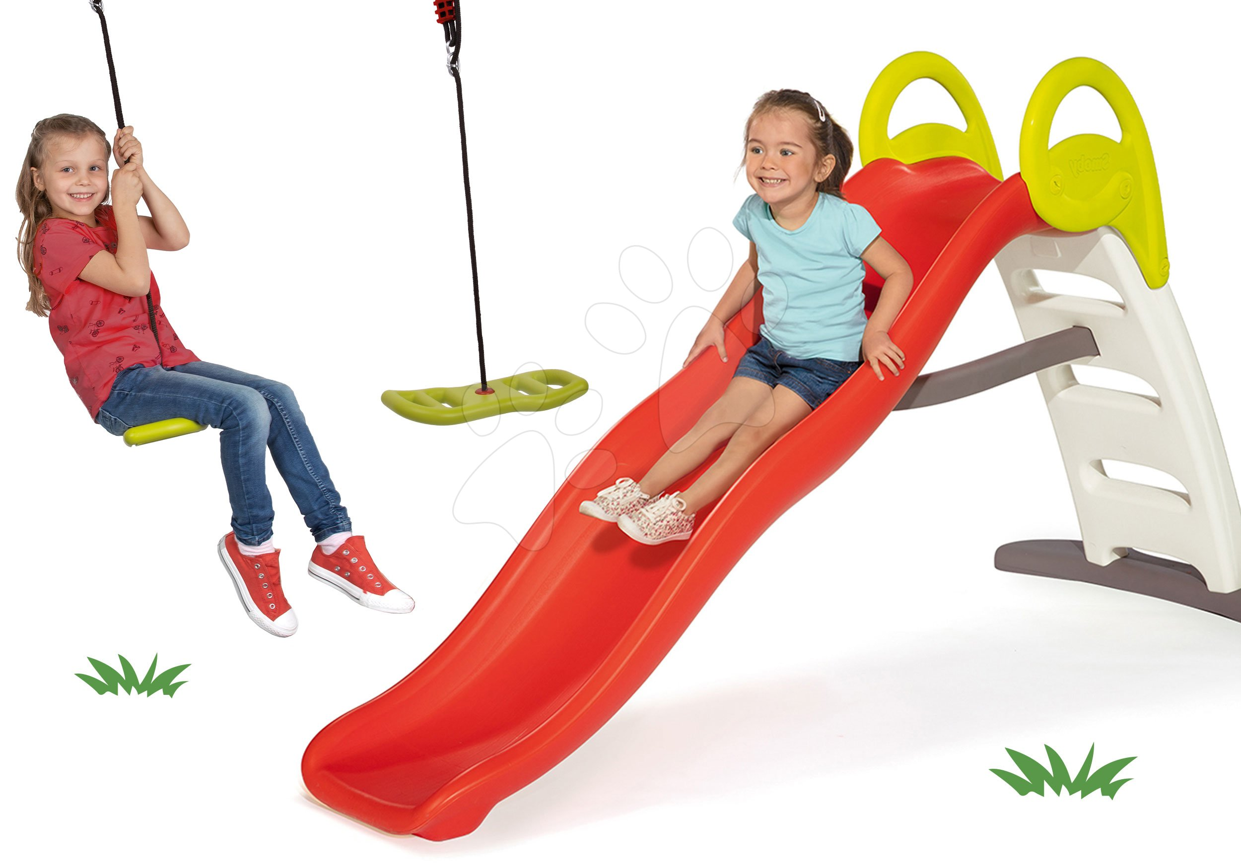 Set šmykľavka s vodotryskom Funny Double Toboggan 2 metrová Smoby a hojdačka Activity Swing