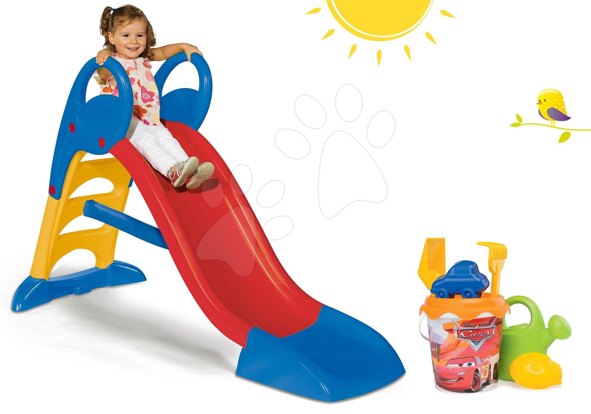 Skluzavky pro děti - Set skluzavka Toboggan KS Smoby 150 cm s vodou a kbelík set do písku Auta od 24 měsíců