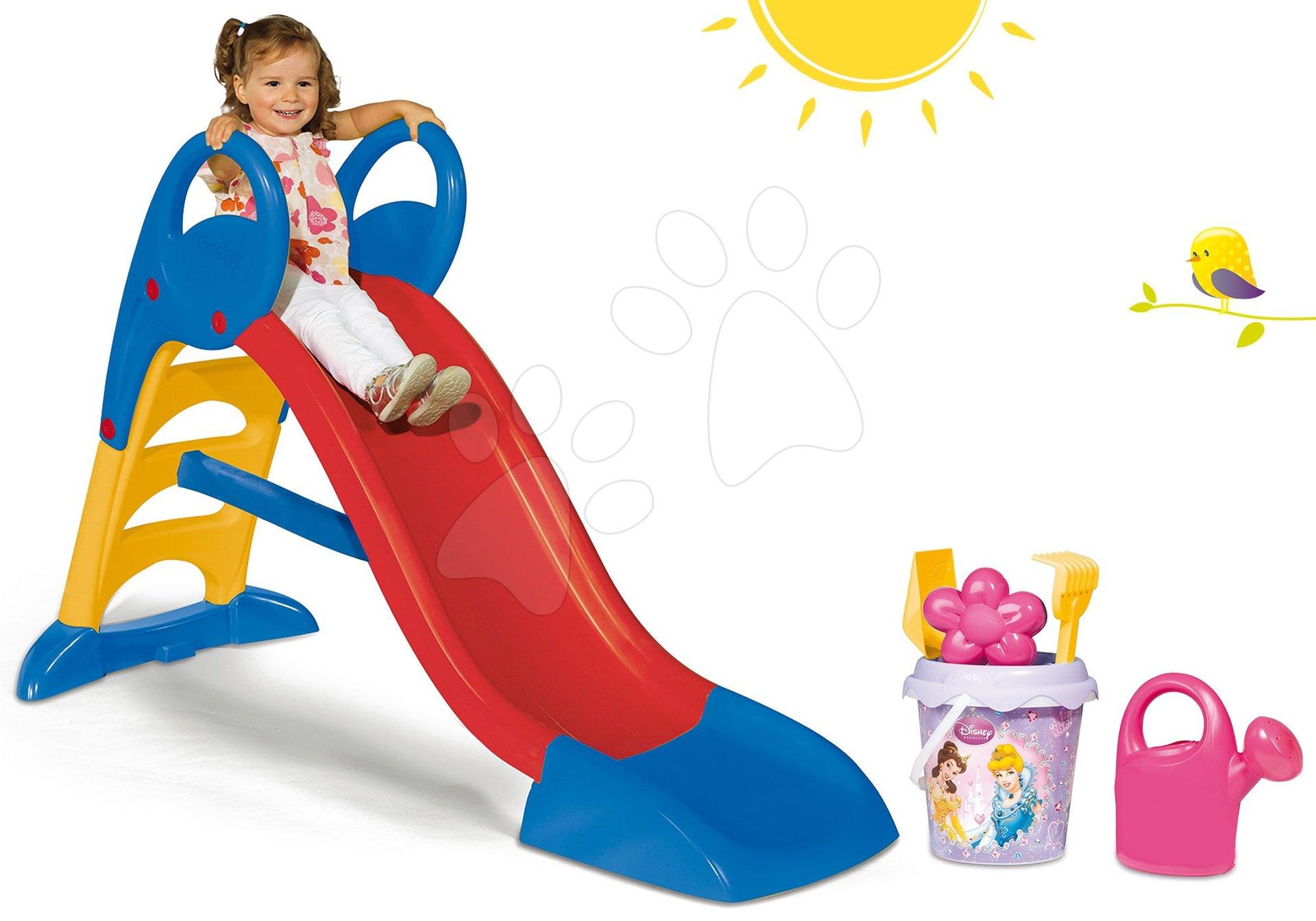 Tobogani za djecu  - Set tobogan Toboggan KS Smoby s vodom 150 cm i set s kanticom za pijesak Princeze od 24 mjeseca
