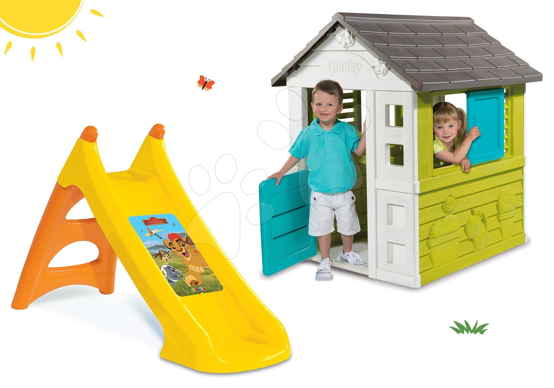 Šmykľavky s domčekom - Set šmykľavka Smoby Toboggan XS dĺžka 90 cm a domček Pretty Blue od 24 mes