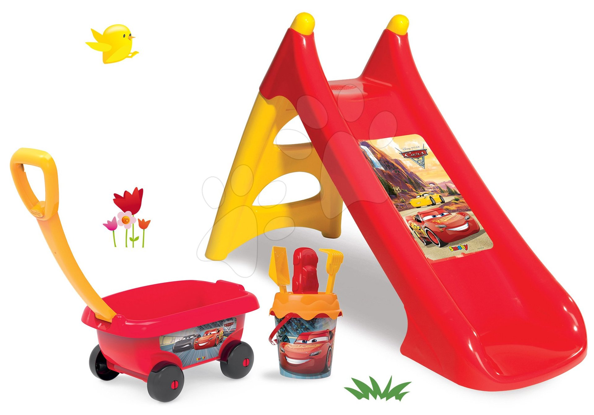 Set skluzavka Auta Toboggan XS Smoby délka 90 cm a vozík s kbelík setem Auta