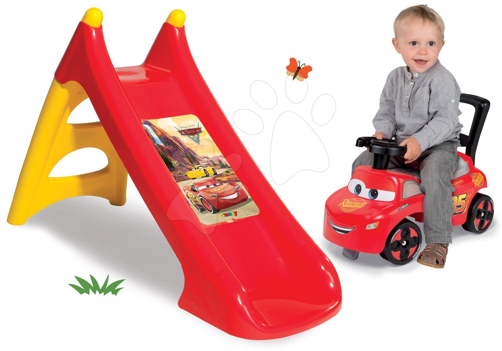Smoby set šmykľavka pre deti malá XS Cars autá a odrážadlo Cars Auto 2v1 310146-2