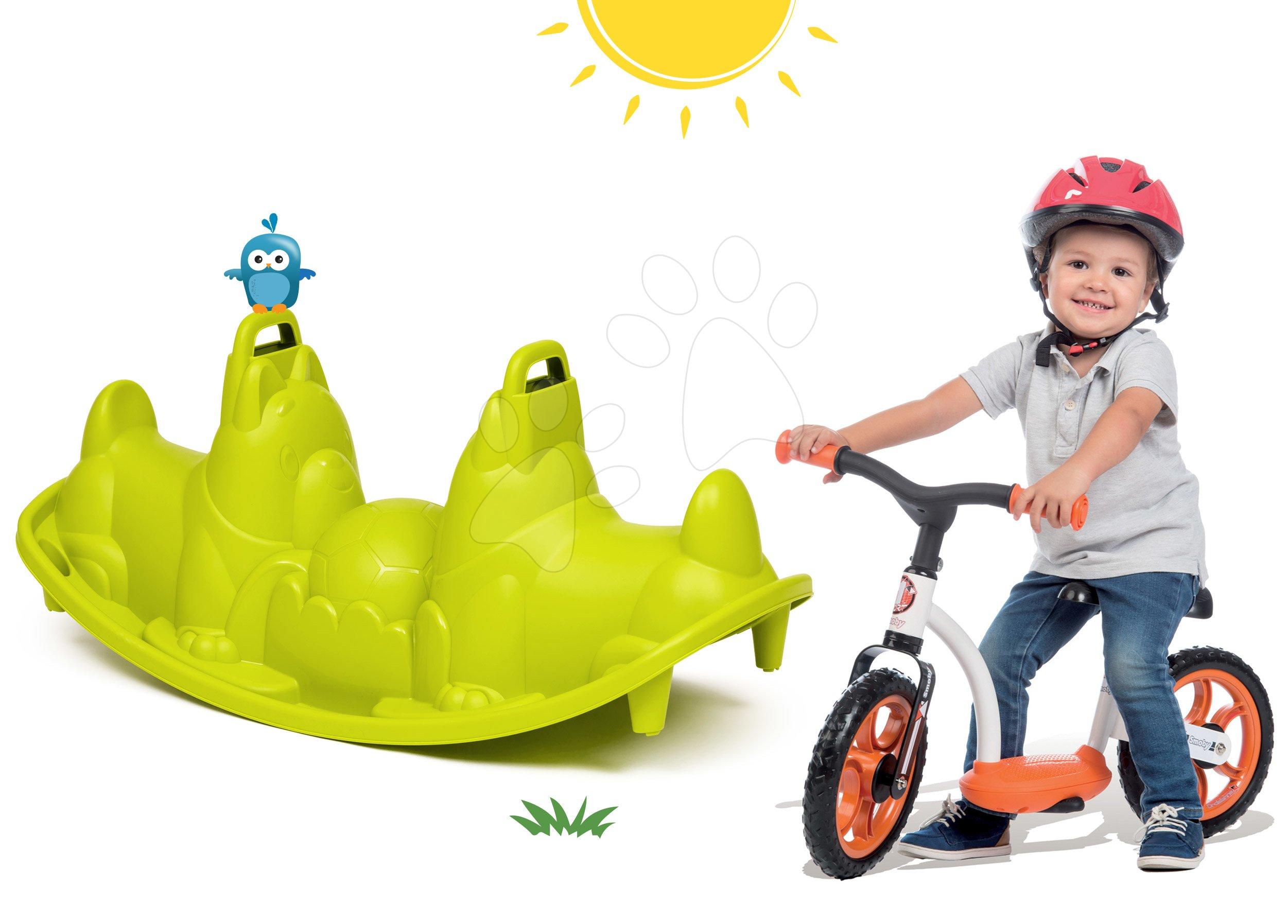 Set houpačka Pes Smoby oboustranná a balanční odrážedlo Learning Bike