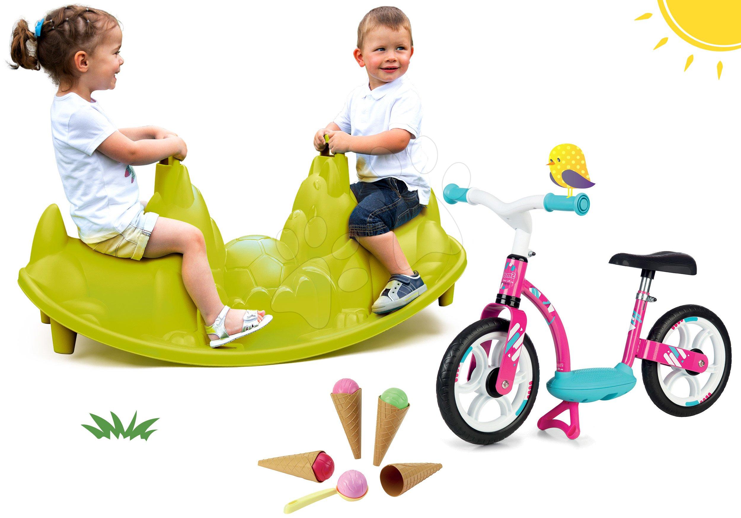 Set houpačka Pes Smoby oboustranná a balanční odrážedlo Balance Bike a zmrzlina s kornoutem