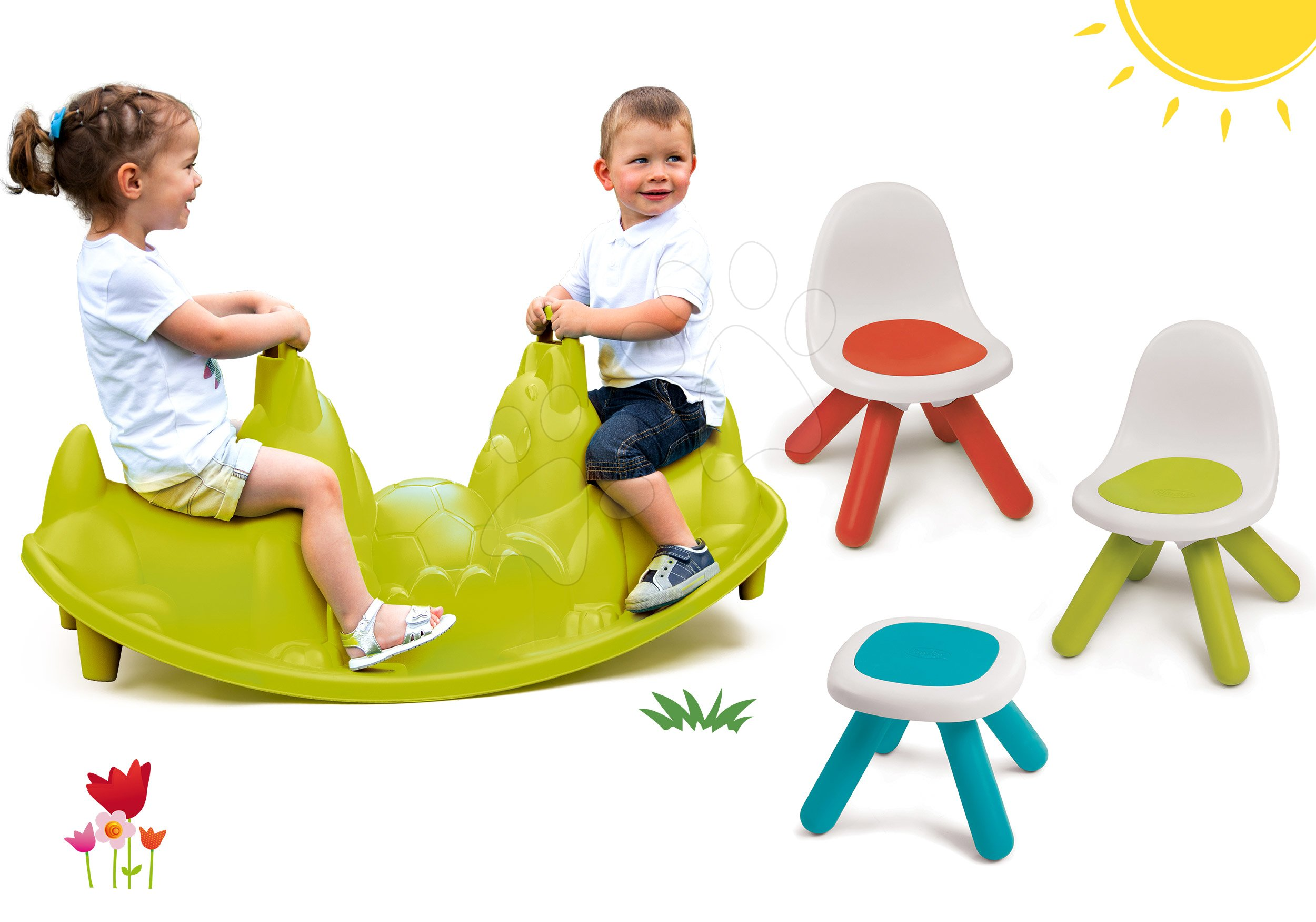 Set houpačka Pes Smoby oboustranná a piknikový stolek se dvěma židlemi KidChair