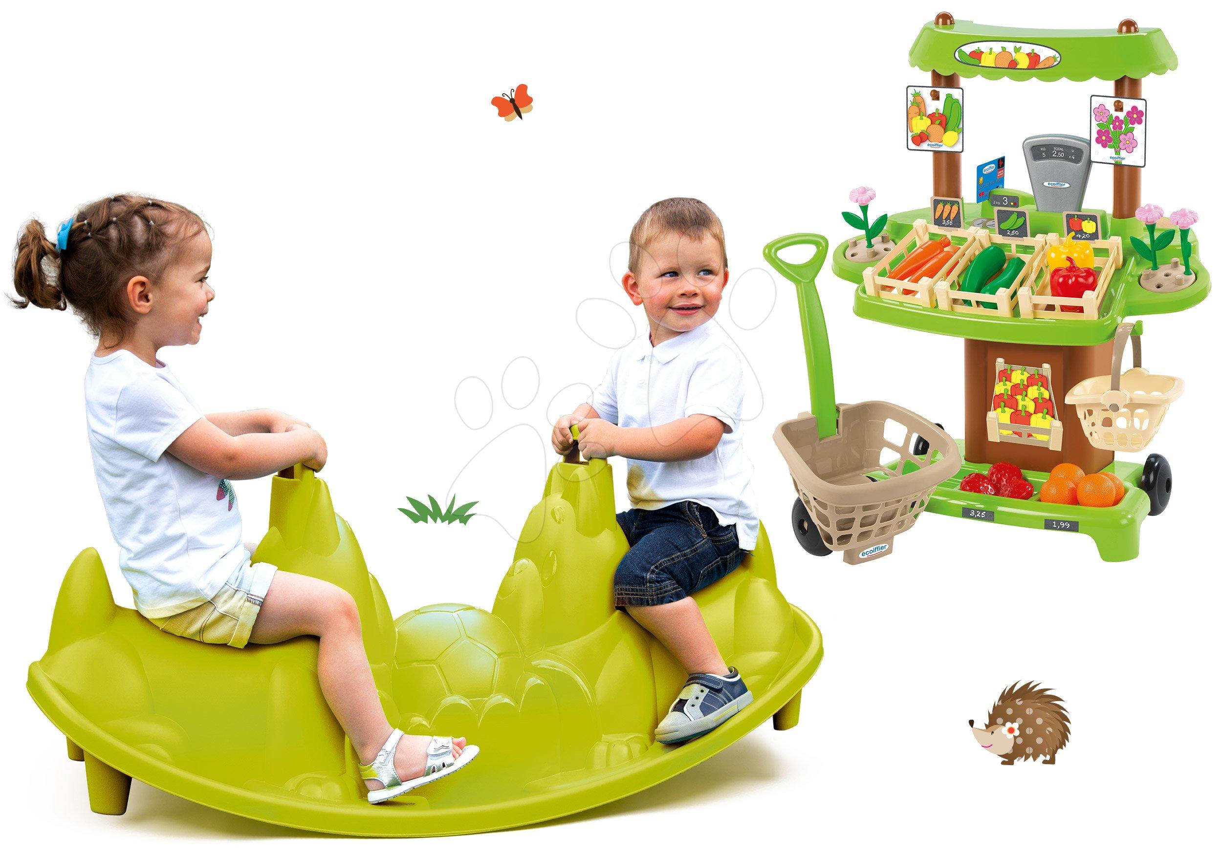 Smoby hojdačka pre deti Tuleň s vodotryskom a Écoiffier zeleninový stánok 310159-16
