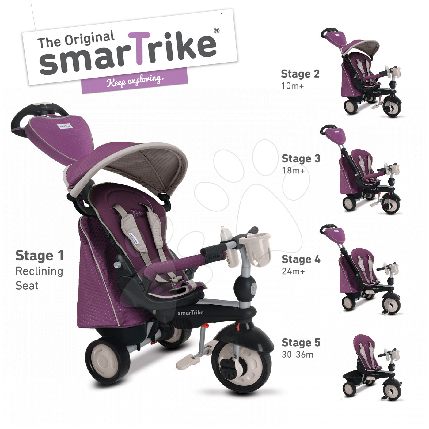 Tricicletă Recliner Infinity 5in1 smaTrike Purple Touch Steering luni mov-gri de la 10 luni