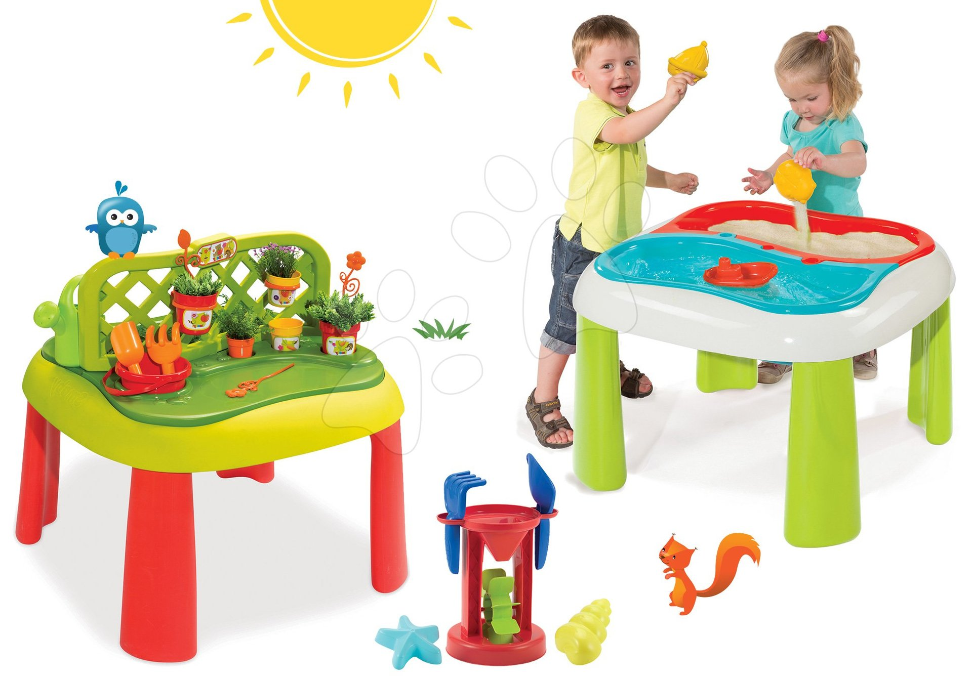 Set stôl Záhradník De Jardinage 2v1 Smoby s plotom a stôl Voda&Piesok 2v1 s mlynom od 24 mes
