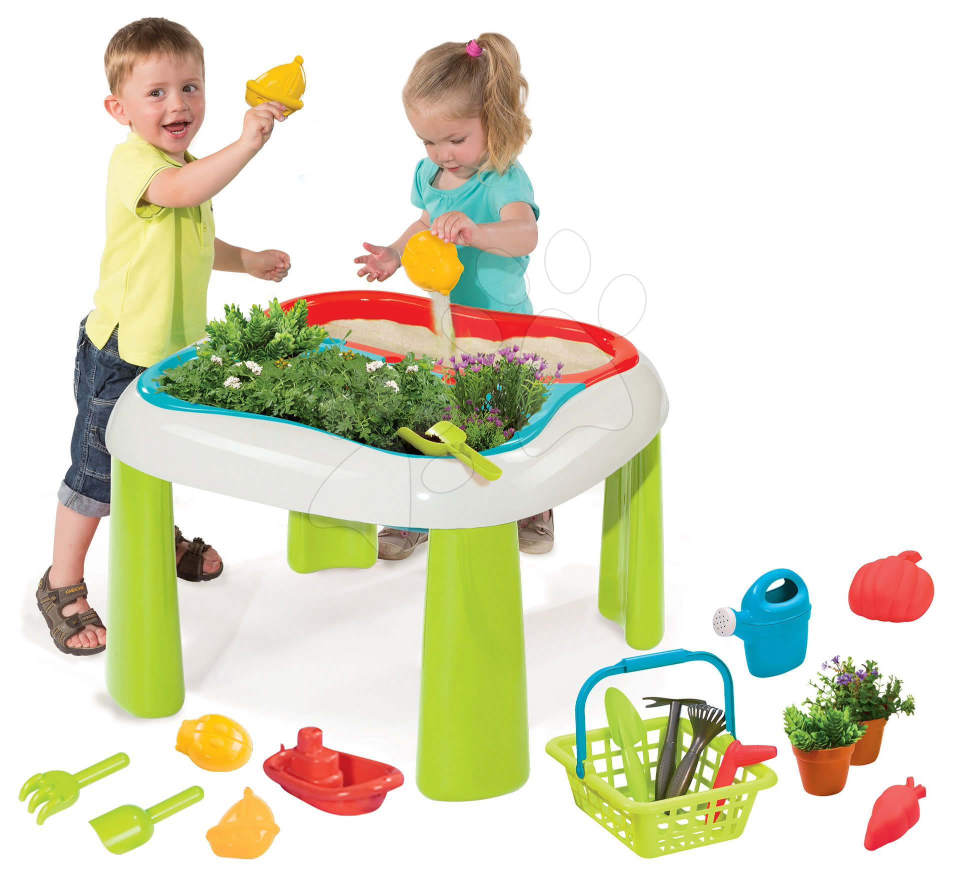 Stôl Záhradník De Jardinage 2v1 Smoby dvojdielny so záhradkou a pieskovisko/bazén s krytom a 15 doplnkami od 24 mes