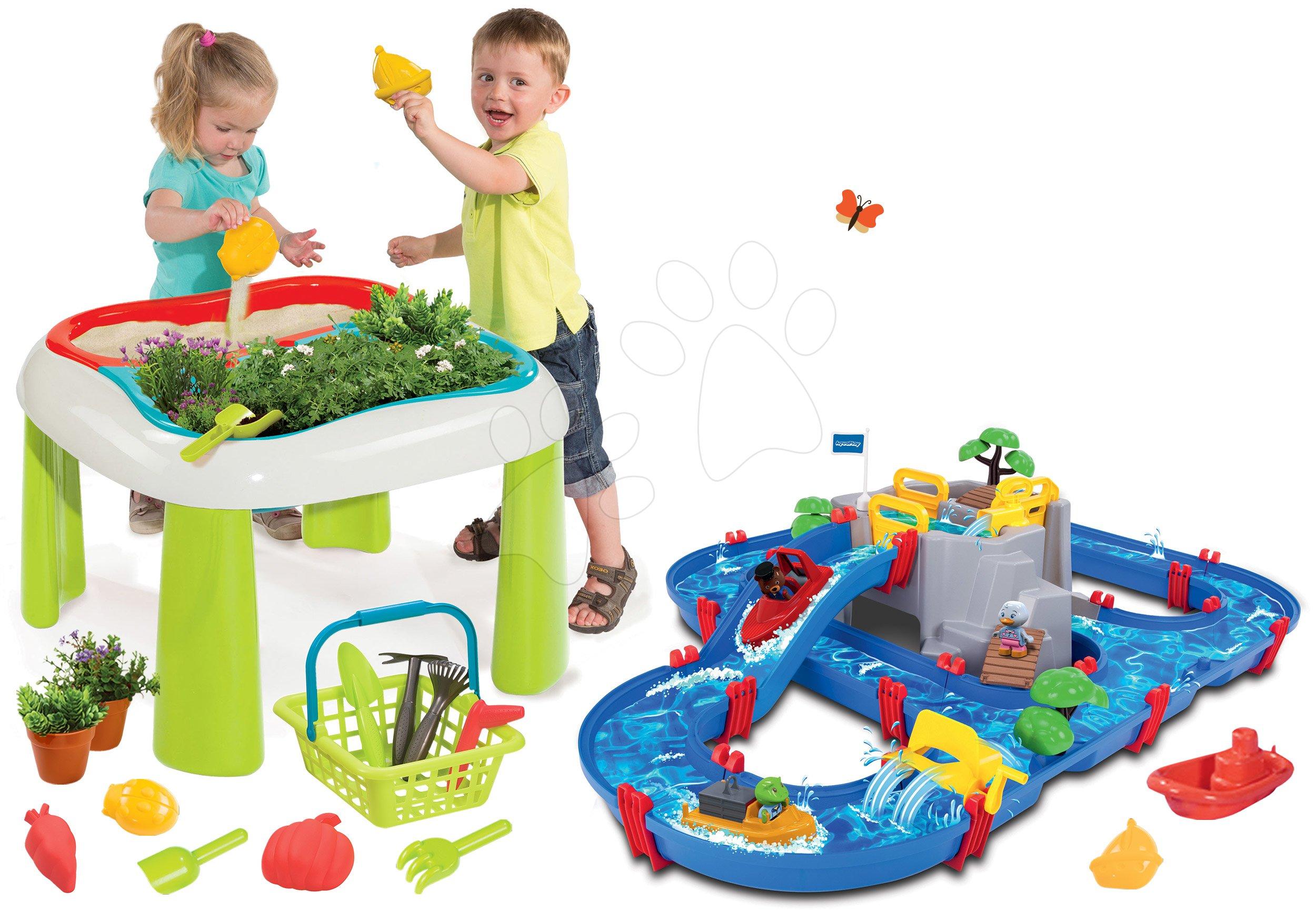 Smoby set detský stôl De Jardinage a Écoiffier kosačka, vysávač na lístie a vozík Jardin&Saisons 840100-13