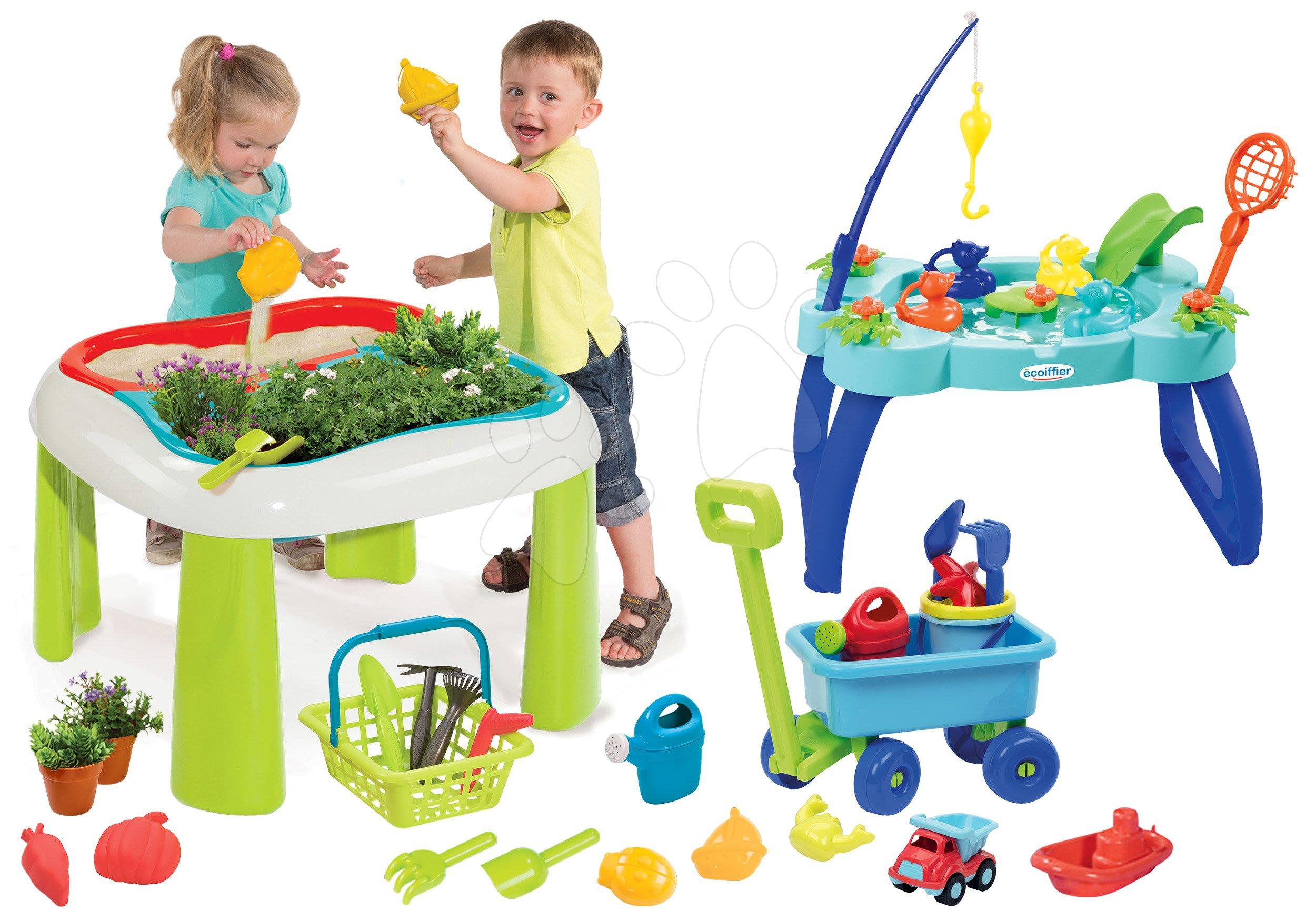 Set stůl Zahradník De Jardinage 2v1 Smoby dvoudílný se zahrádkou a vozík pro tažení s kbelík setem a rybník s udicí