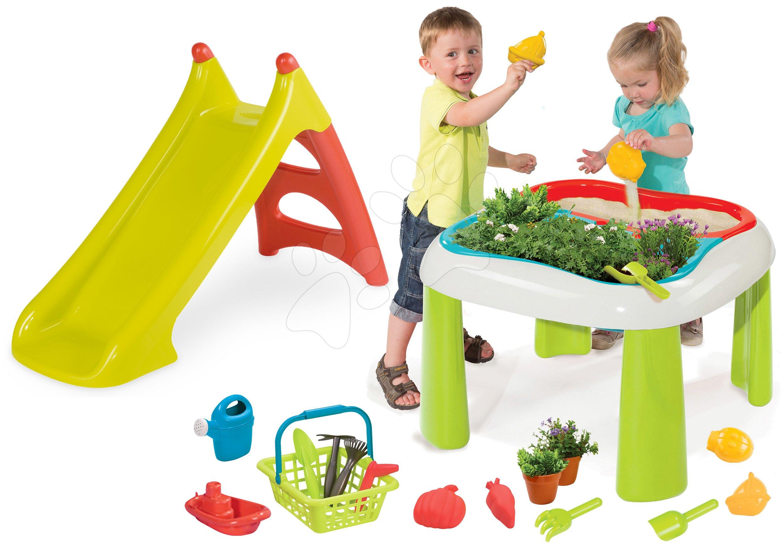 Set stůl Zahradník De Jardinage 2v1 Smoby dvoudílný se zahrádkou a skluzavka Toboggan XS s vodou délka 90 cm
