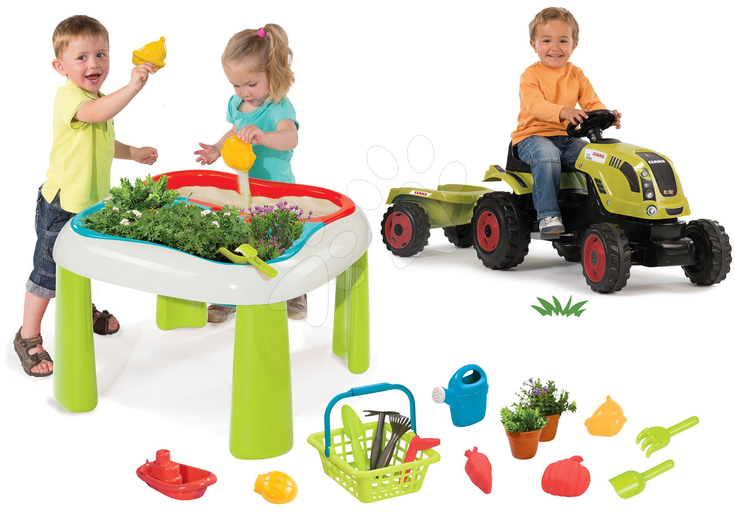 Set stůl Zahradník De Jardinage 2v1 Smoby dvoudílný se zahrádkou a traktor Claas Farmer XL s přívěsem