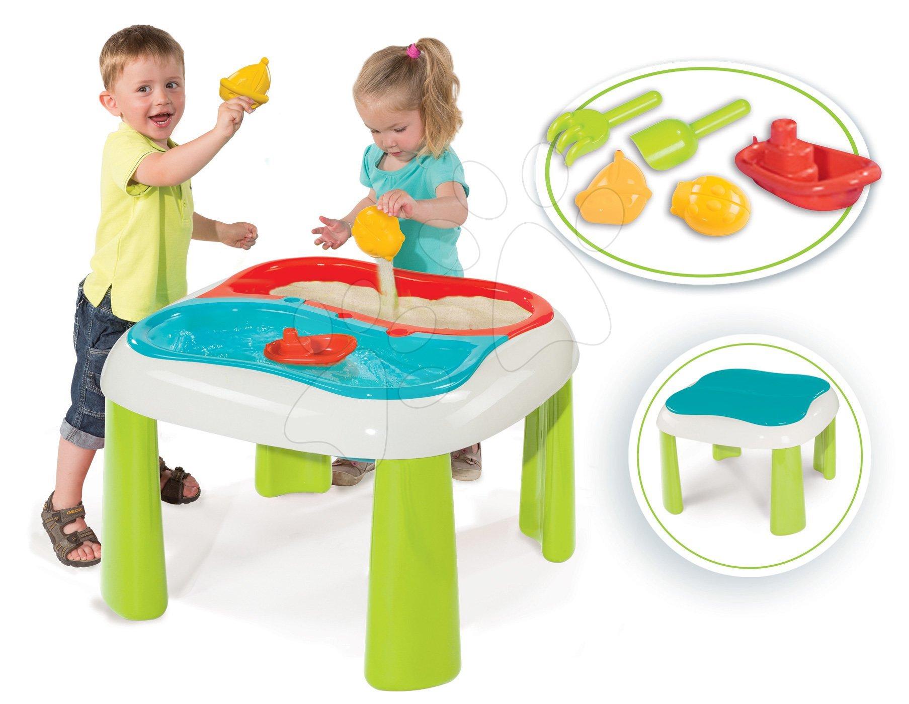 Stôl Voda&Piesok Smoby s dvojitým krytom a loďka s formičkami od 18 mes