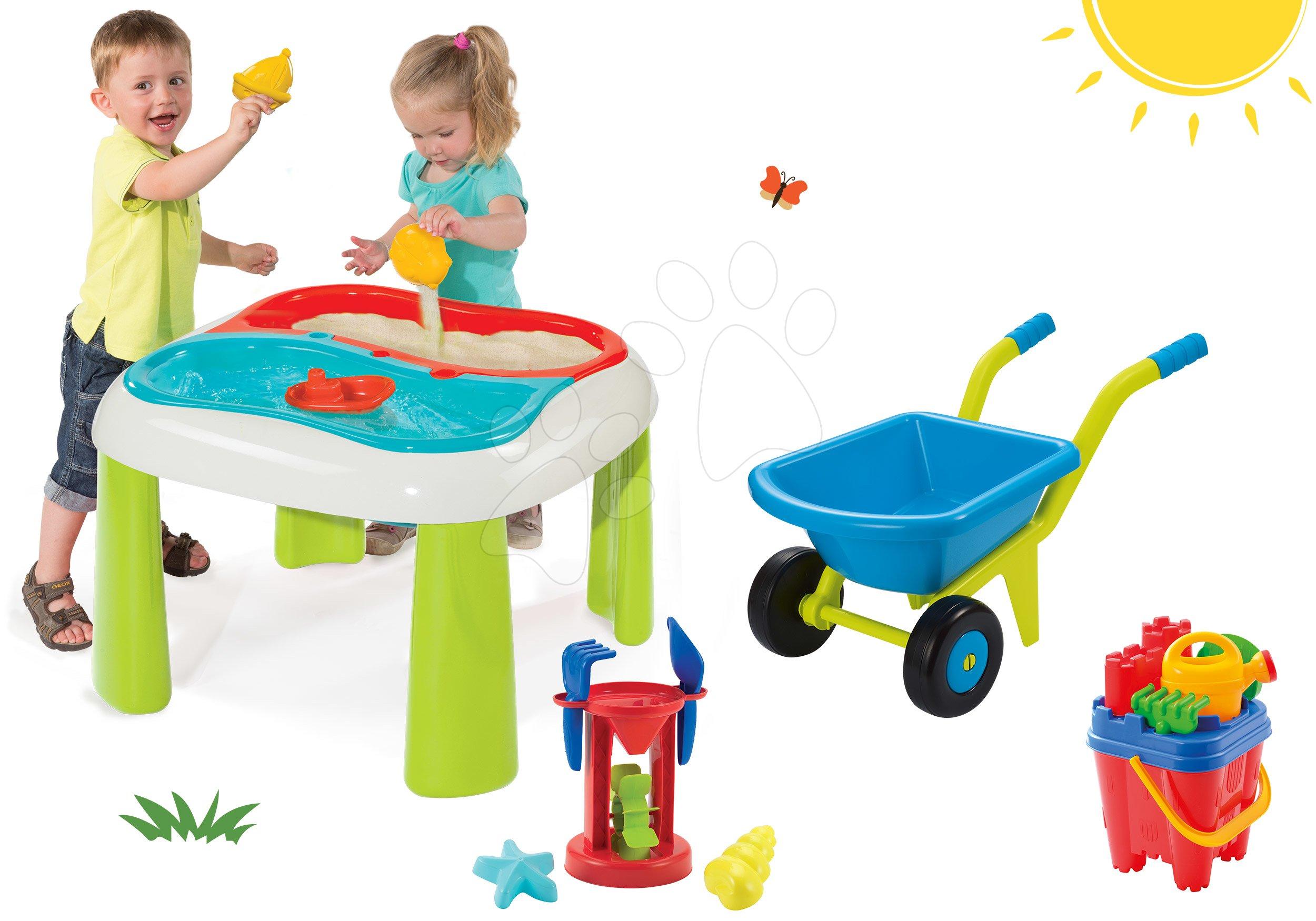 Detský záhradný nábytok sety - Set stôl Voda&Piesok 2v1 Smoby a fúrik s vedro setom od 18 mes