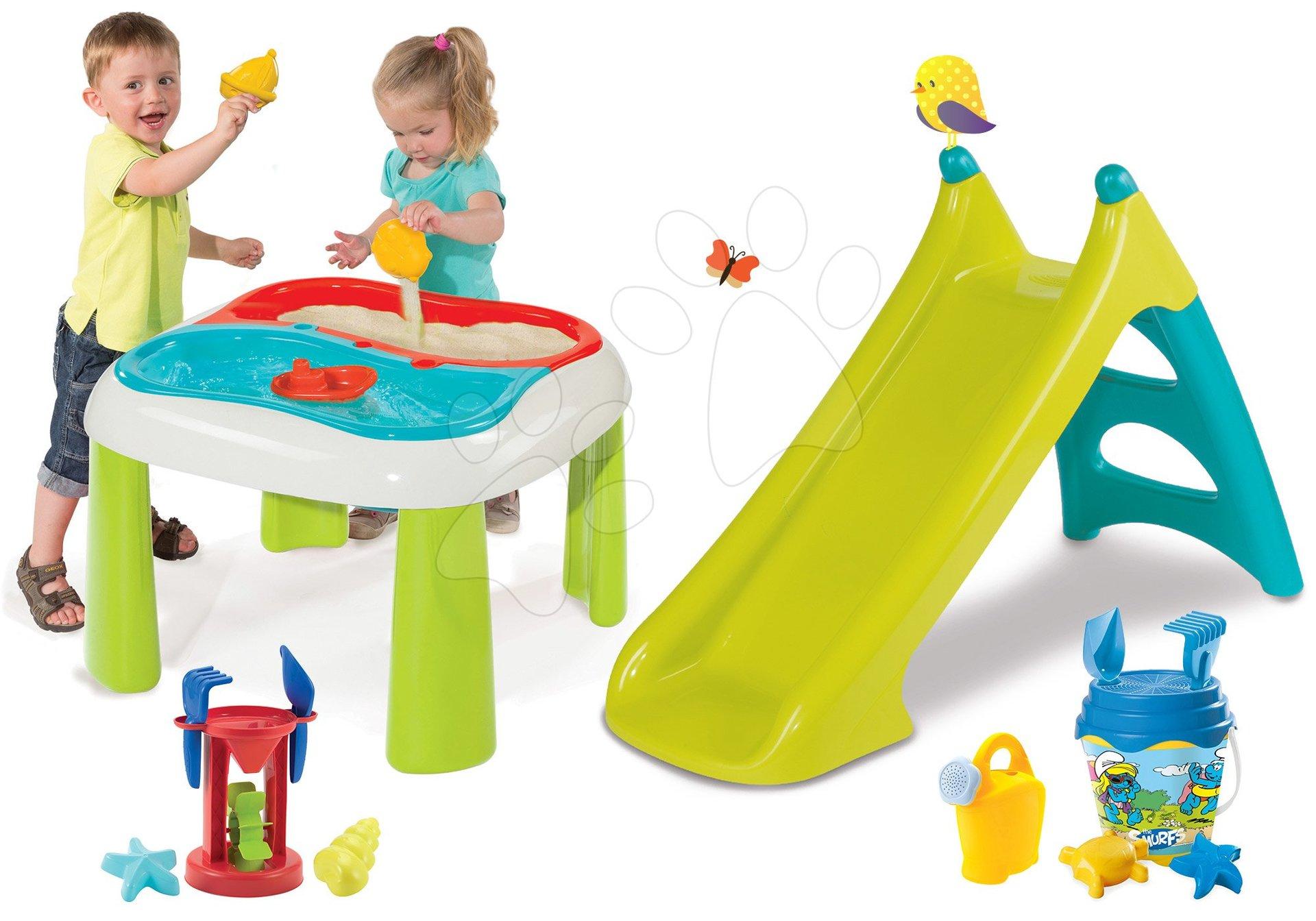 Set stůl Voda&Písek 2v1 Smoby a skluzavka Toboggan XS, kbelík set Lví hlídka od 18 měsíců