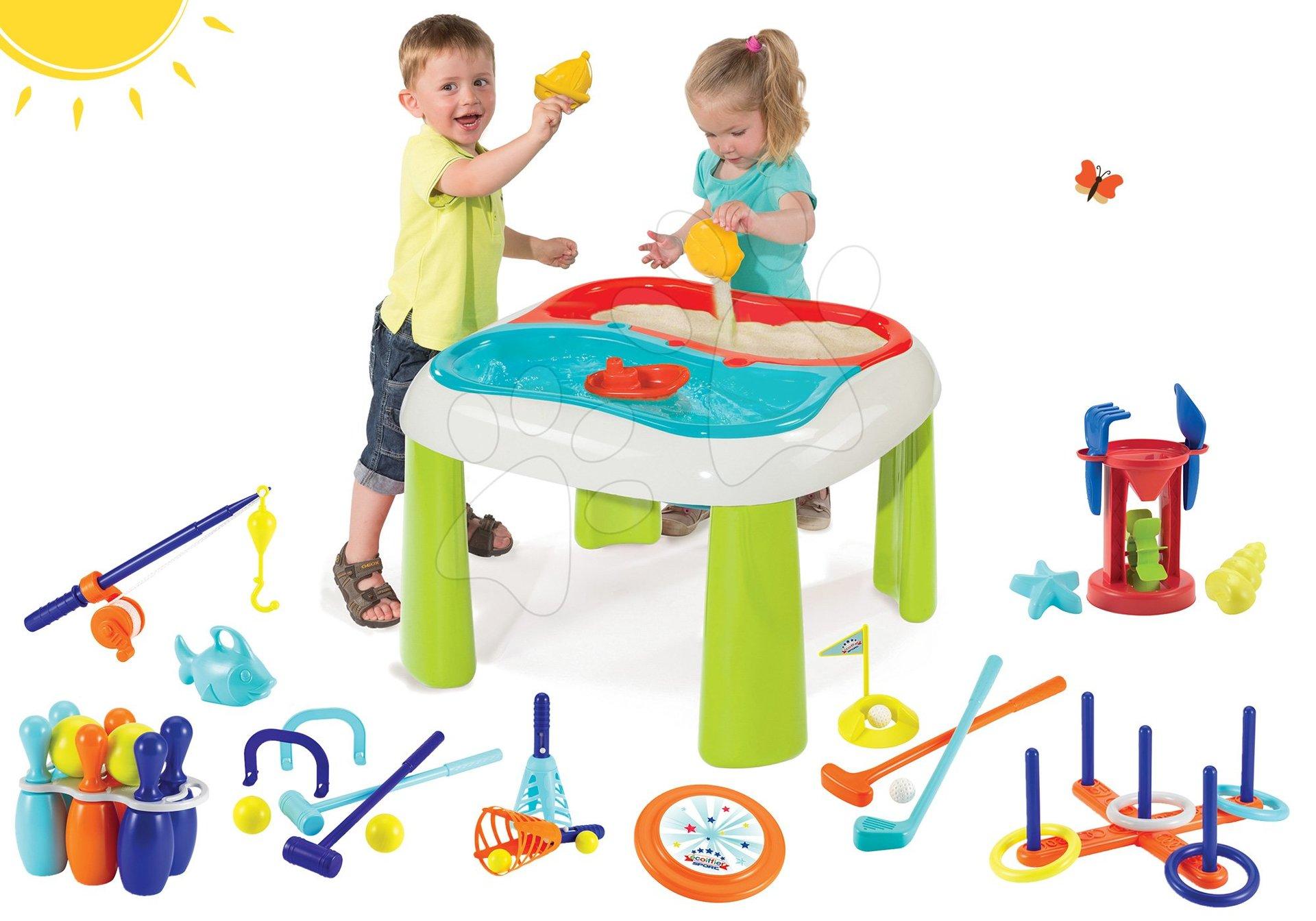 Set stůl Voda&Písek 2v1 Smoby s mlýnem a sportovní set 7 her Jardin&Saisons od 18 měsíců