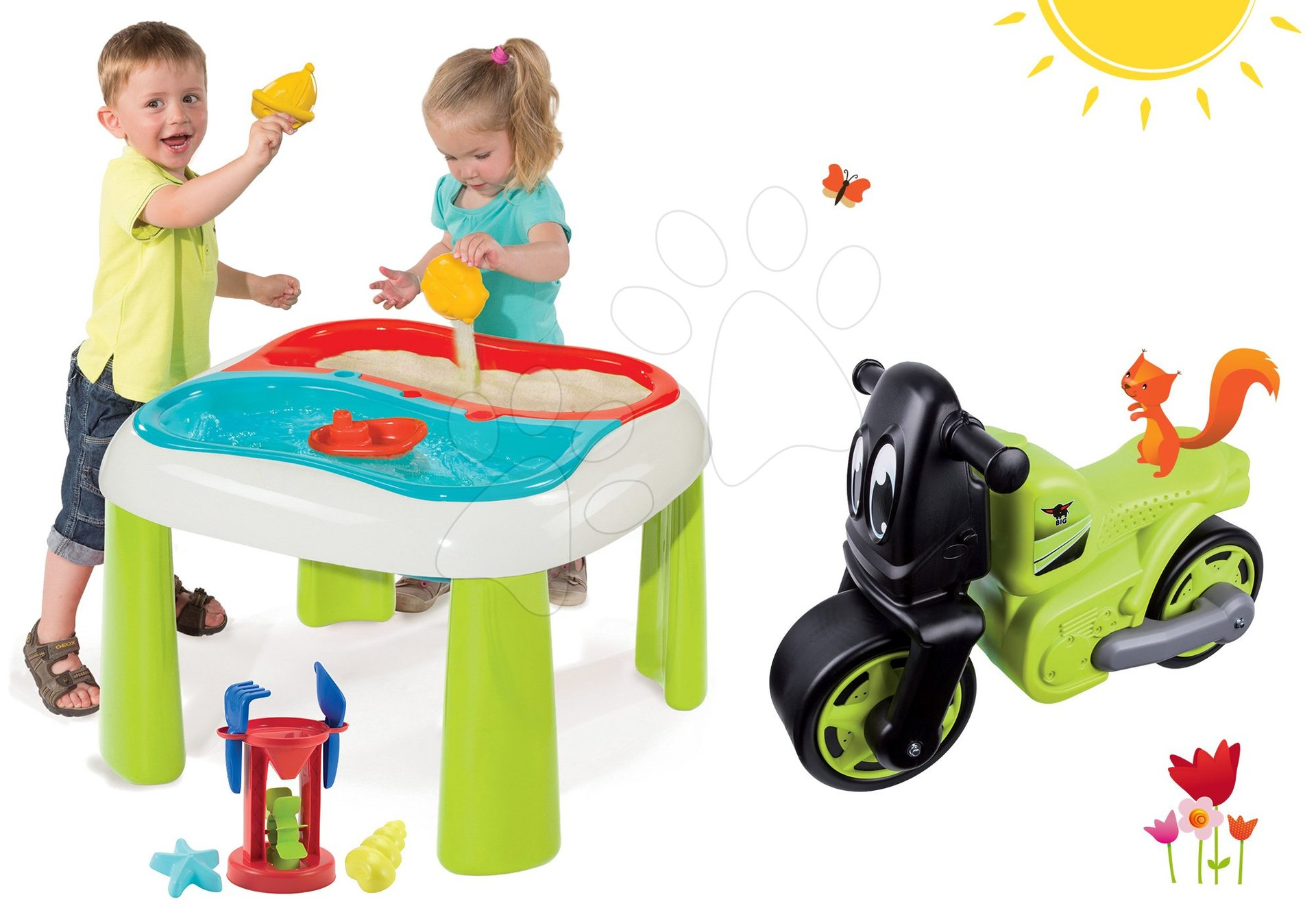 Smoby stolek na hraní s mlýnem a BIG odrážedlo Racing Bike 840107-6