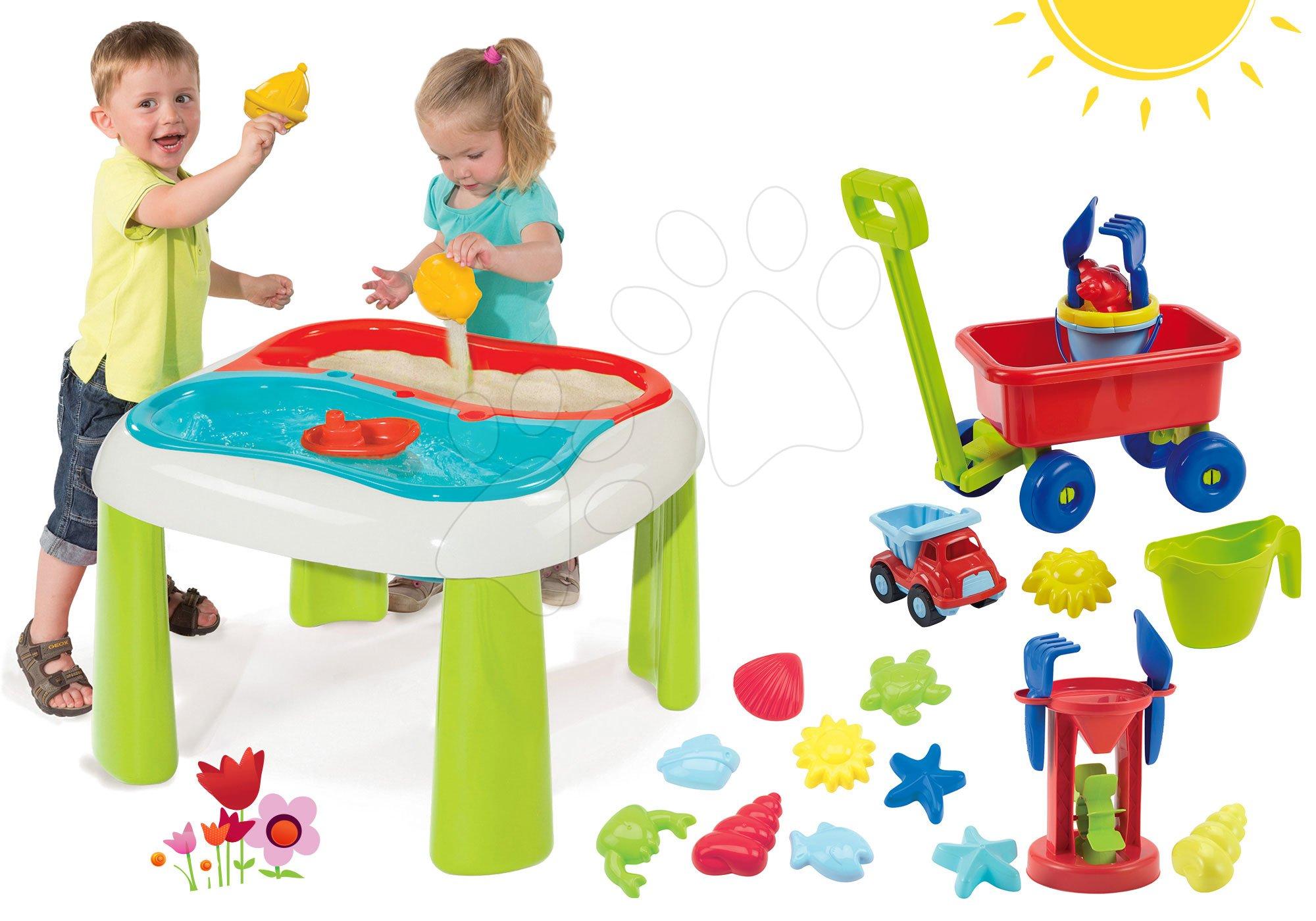Smoby stolík na hranie s mlynom a Écoiffier vozík s vedierkom a formičkami 840107-7