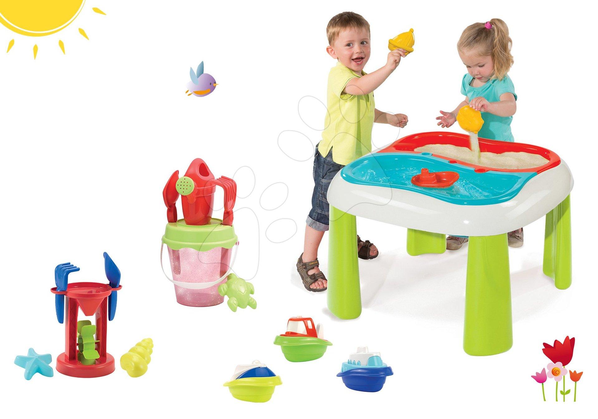 Set stôl Voda&Piesok 2v1 Smoby s mlynom, vedro set s krhlou priesvitné a 3 kusy mini čln od 18 mes