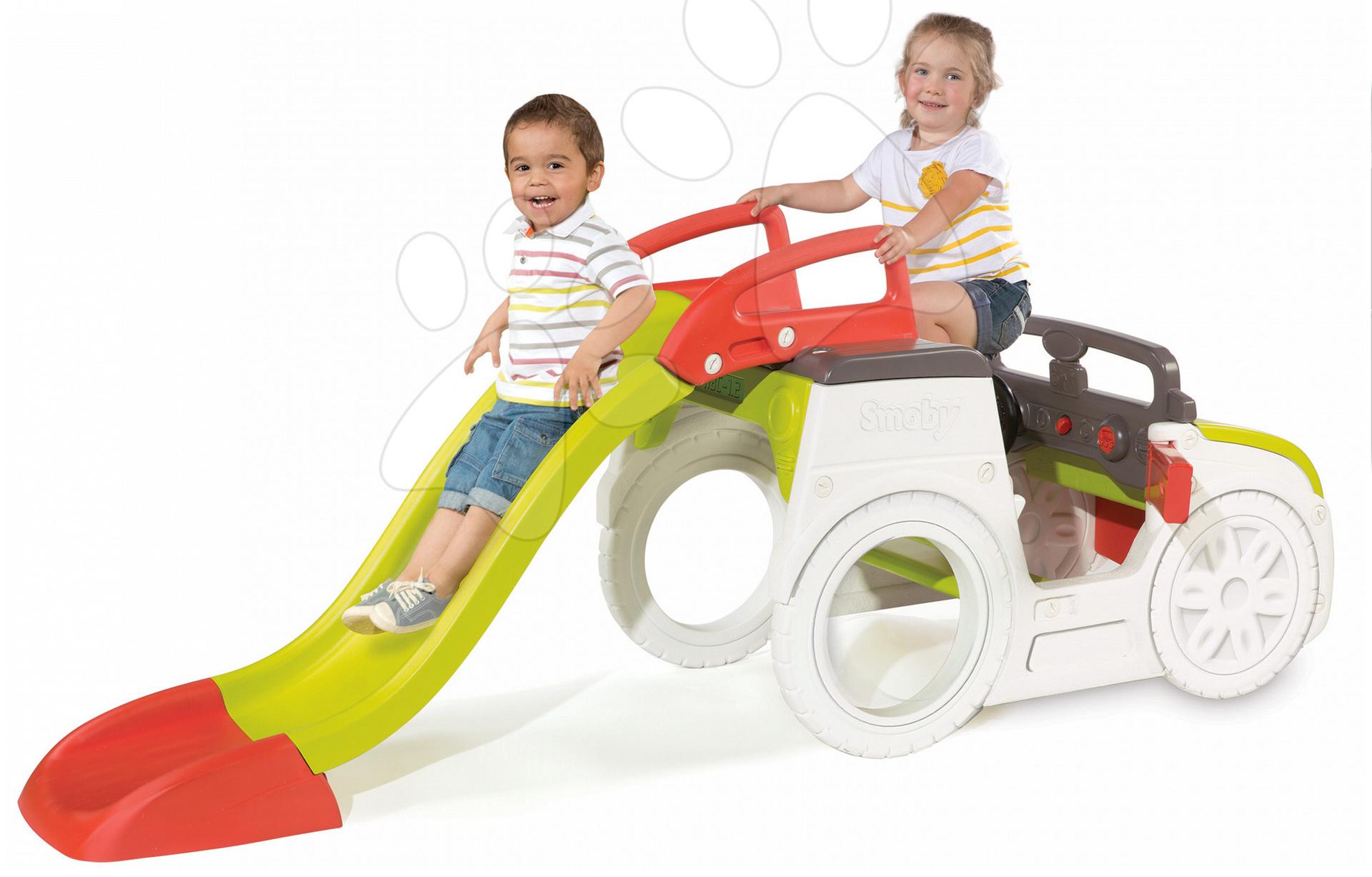 Preliezačky pre deti - Preliezačka Adventure Car Smoby s pieskoviskom a šmykľavkou dlhou 150 cm od 24 mes