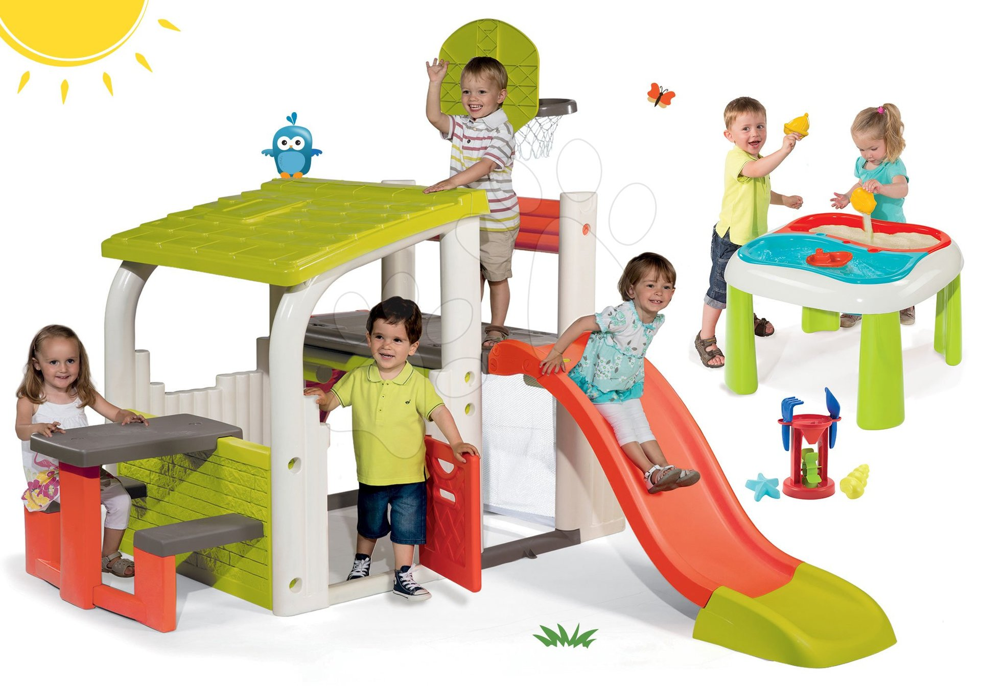 Hracie centrá - Set hracie centrum Fun Center Smoby so šmykľavkou dlhou 150 cm a stôl Voda&Piesok 2v1 s mlynom od 24 mes