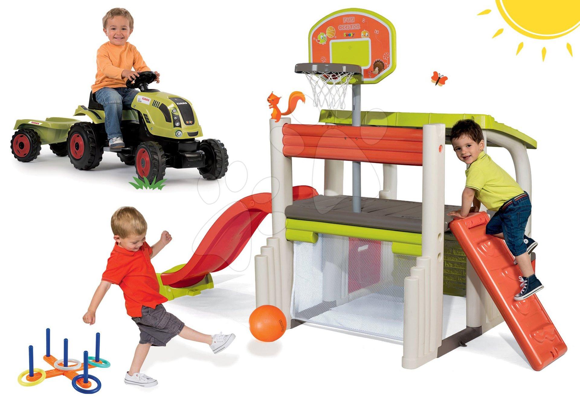 Set hrací centrum Fun Center se skluzavkou Smoby dlouhou 150 cm, traktor Claas Farmer XL a kruhy na házení od 24 měsíců