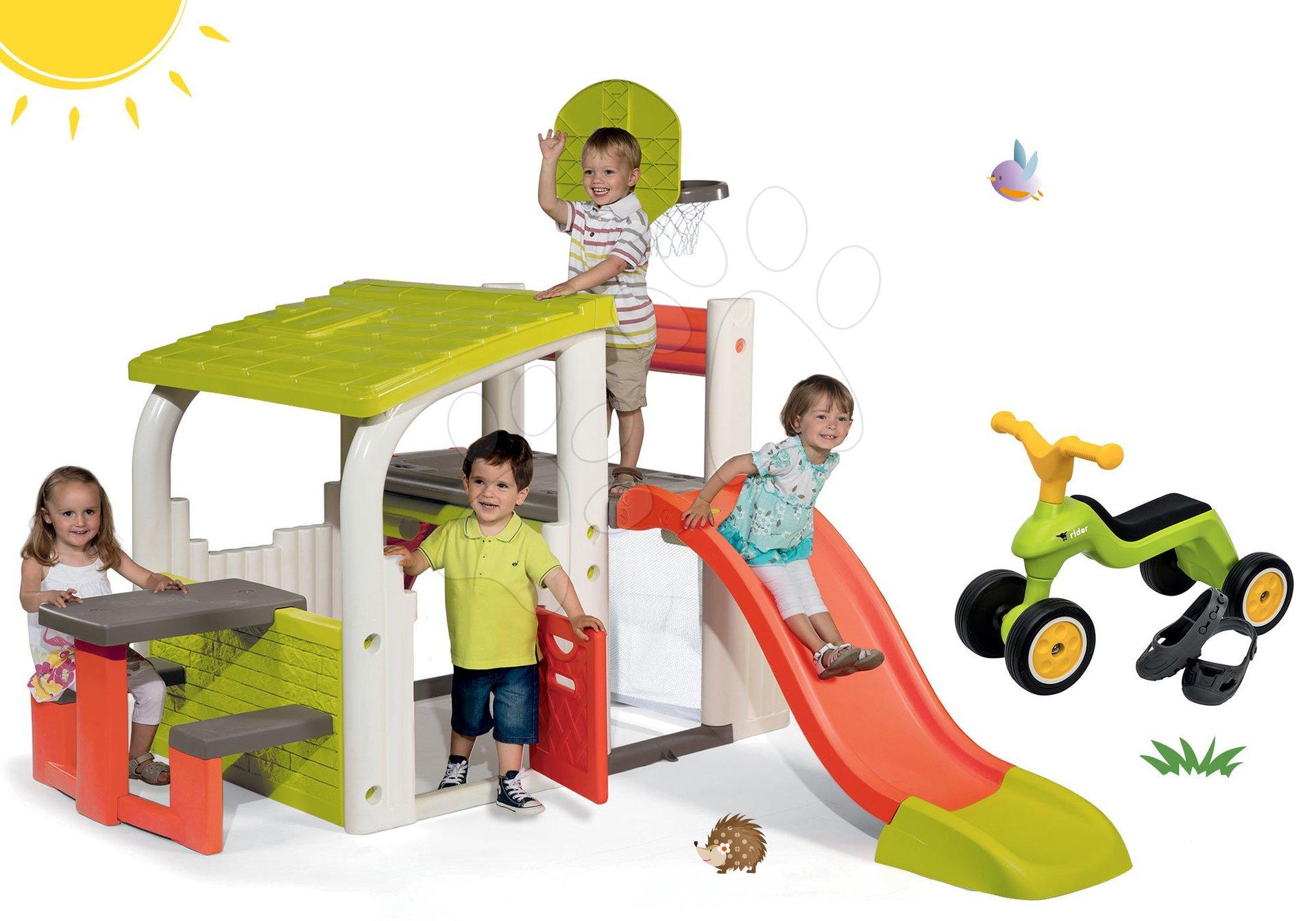 Hracie centrá - Set hracie centrum Fun Center Smoby so šmykľavkou dlhou 150 cm a odrážadlo Rider s návlekmi na topánky od 24 mes