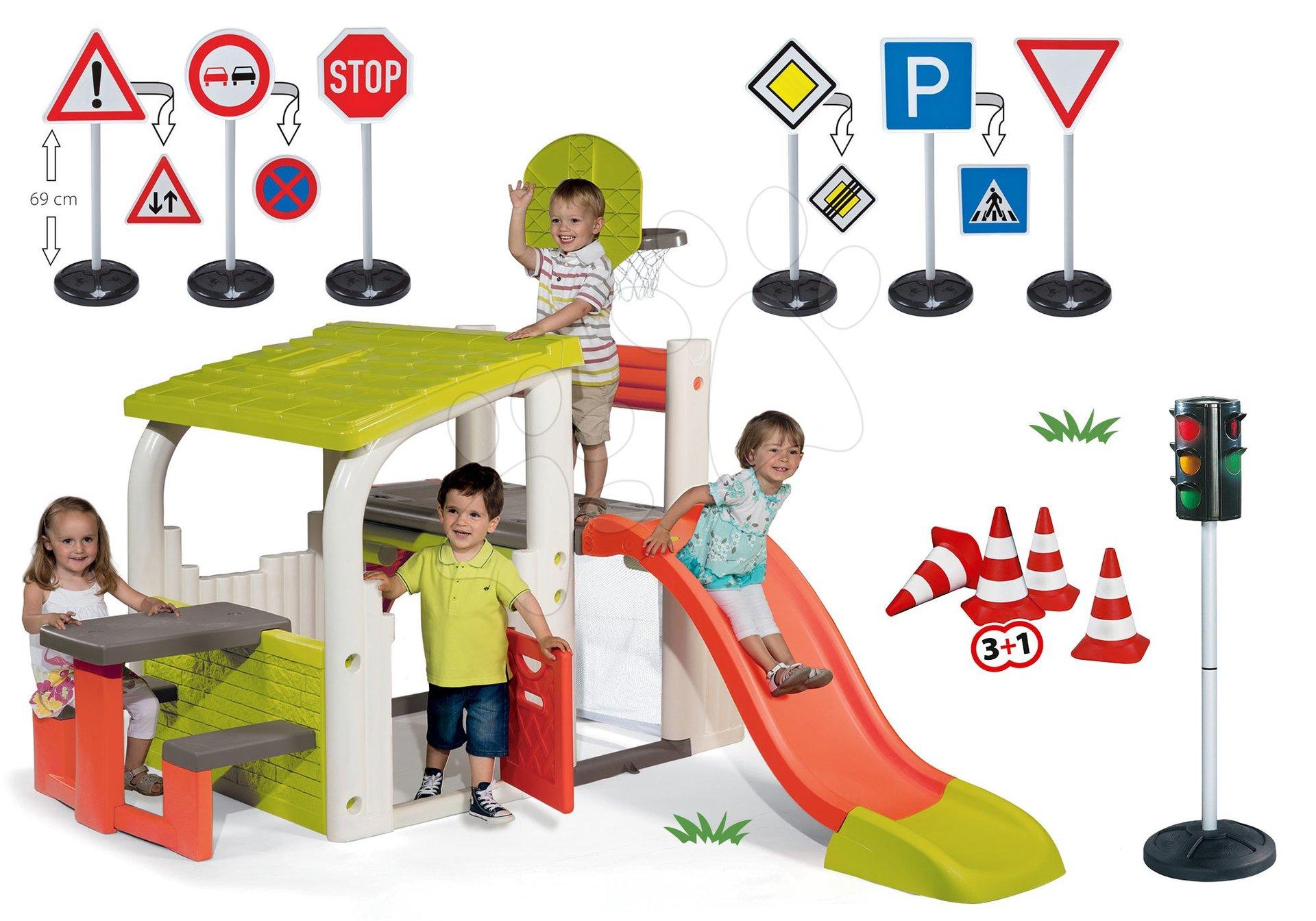 Szett játszótér Fun Center Smoby csúszdával hossza 150 cm, automatikus jelzőlámpa, közúti jelzőtáblák és jelzőbóják 24 hó-tól