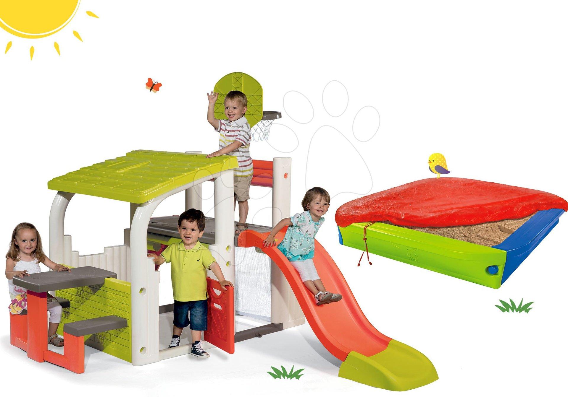 Szett játszótér Fun Center Smoby csúszdával hossza 150 cm és színes homokozó takaróponyvával 24 hó-tól