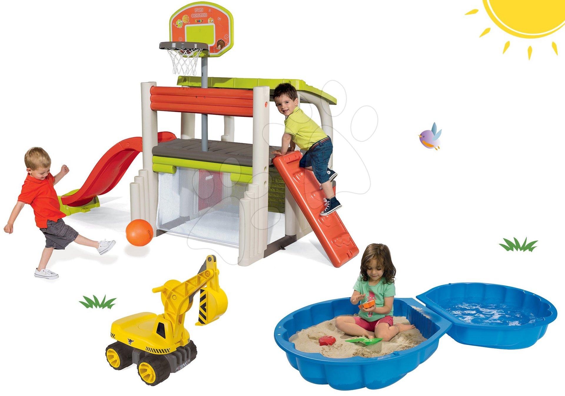 Szett játszóter Fun Center Smoby csúszdával hossza 150 cm, markológép Maxi Power és kétrészes homokozó 24 hó-tól