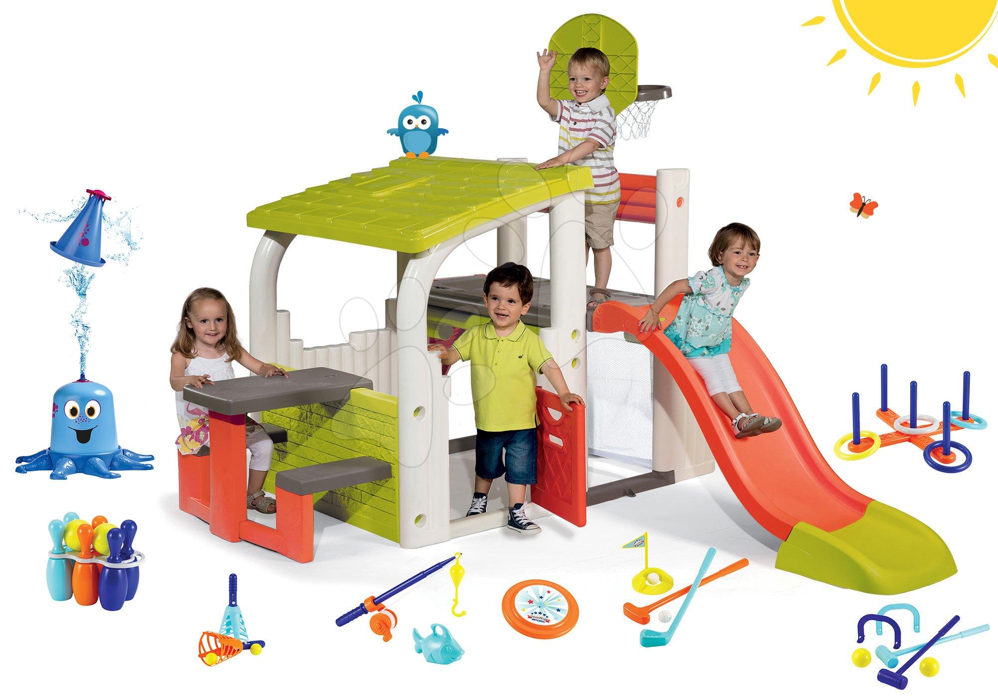 Hracie centrá - Set hracie centrum Fun Center Smoby so šmykľavkou dlhou 150 cm striekajúca vodná chobotnica a 7 športových hier