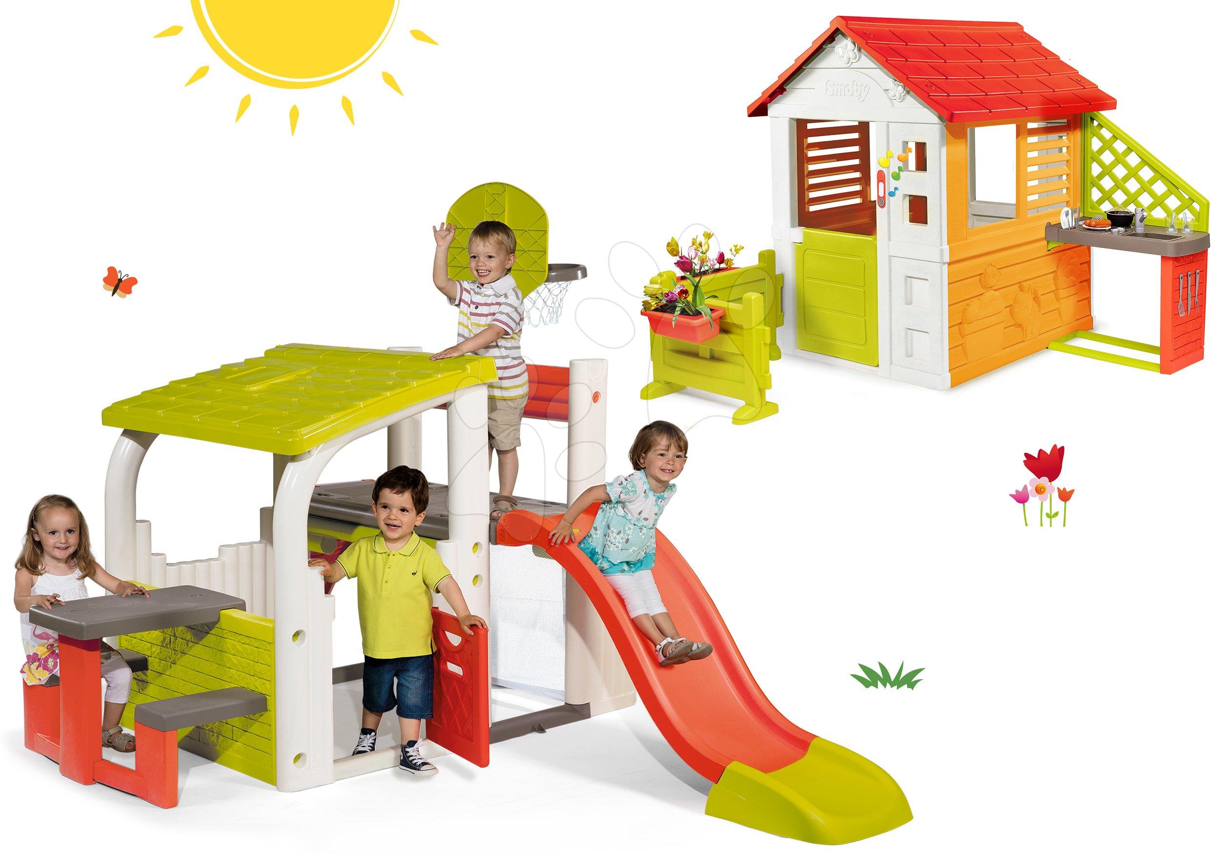 Set hrací centrum Fun Center Smoby se skluzavkou a domeček Sluníčko Sunny se zvonkem, kuchyňkou a zahrádkou od 24 měsíců