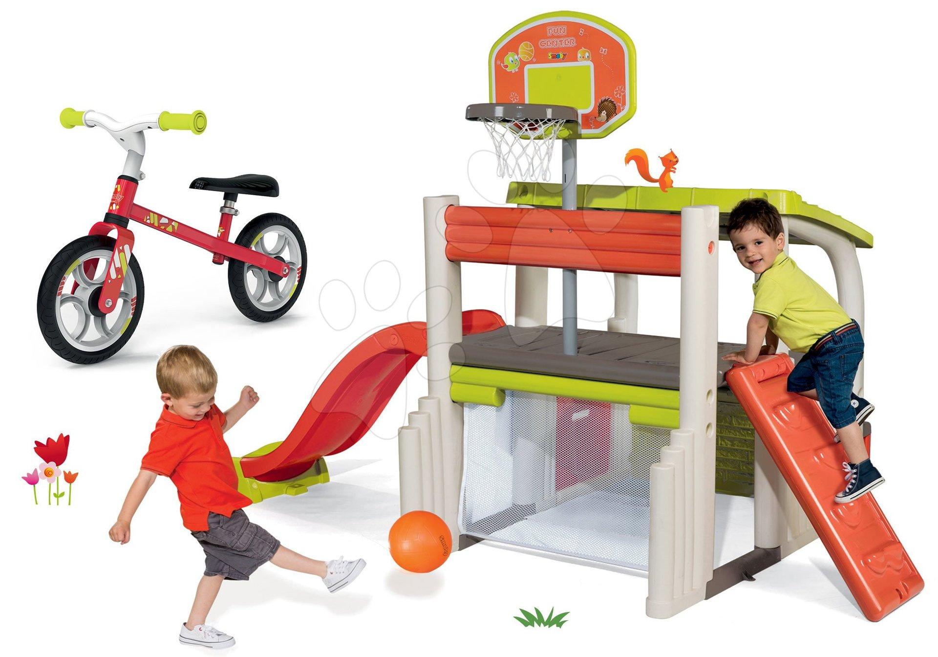 Hracie centrá - Set hracie centrum Fun Center Smoby so šmykľavkou dlhou 150 cm a balančné odrážadlo od 24 mes
